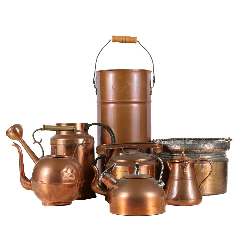 Copper Vessels Featuring Revere Ware