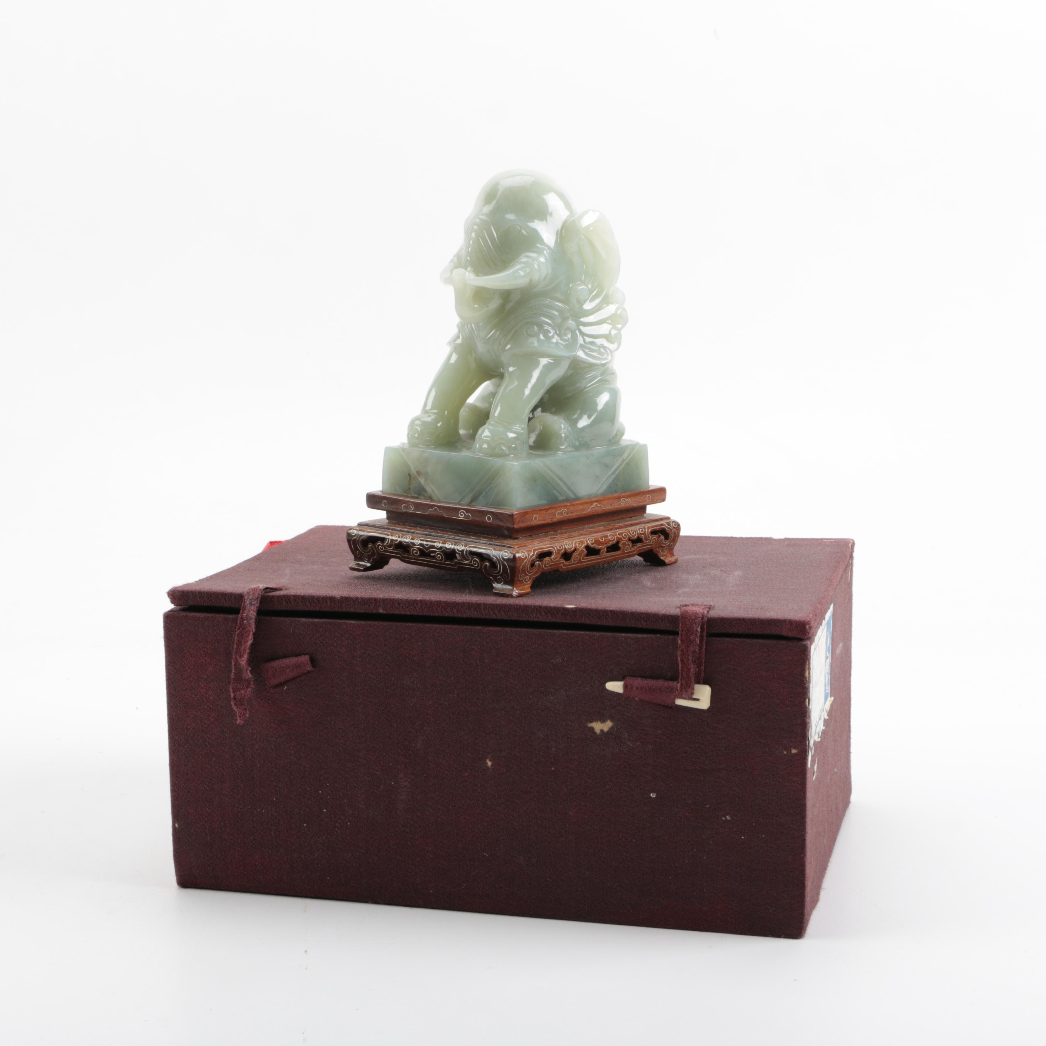 Carved Chinese Elephant Figurine With Stand and Box