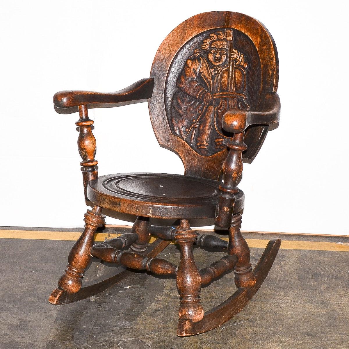 Antique Dutch Style Oak Rocking Chair