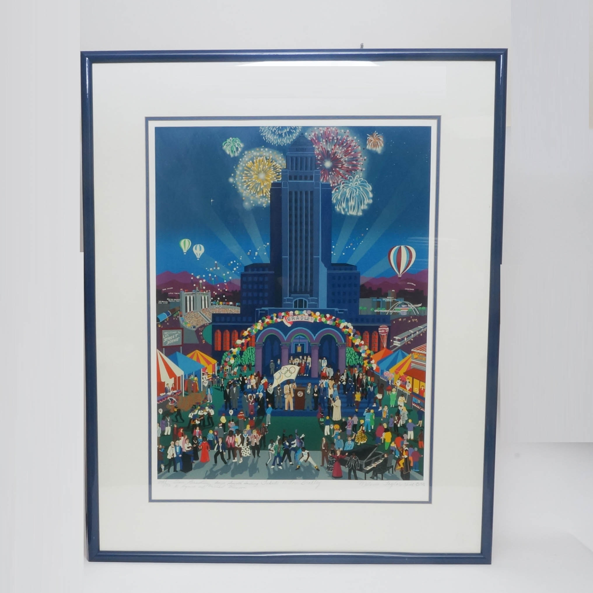 "Melanie Taylor Kent Framed Limited Edition Serigraph ""Tribute to Tom Bradley"""