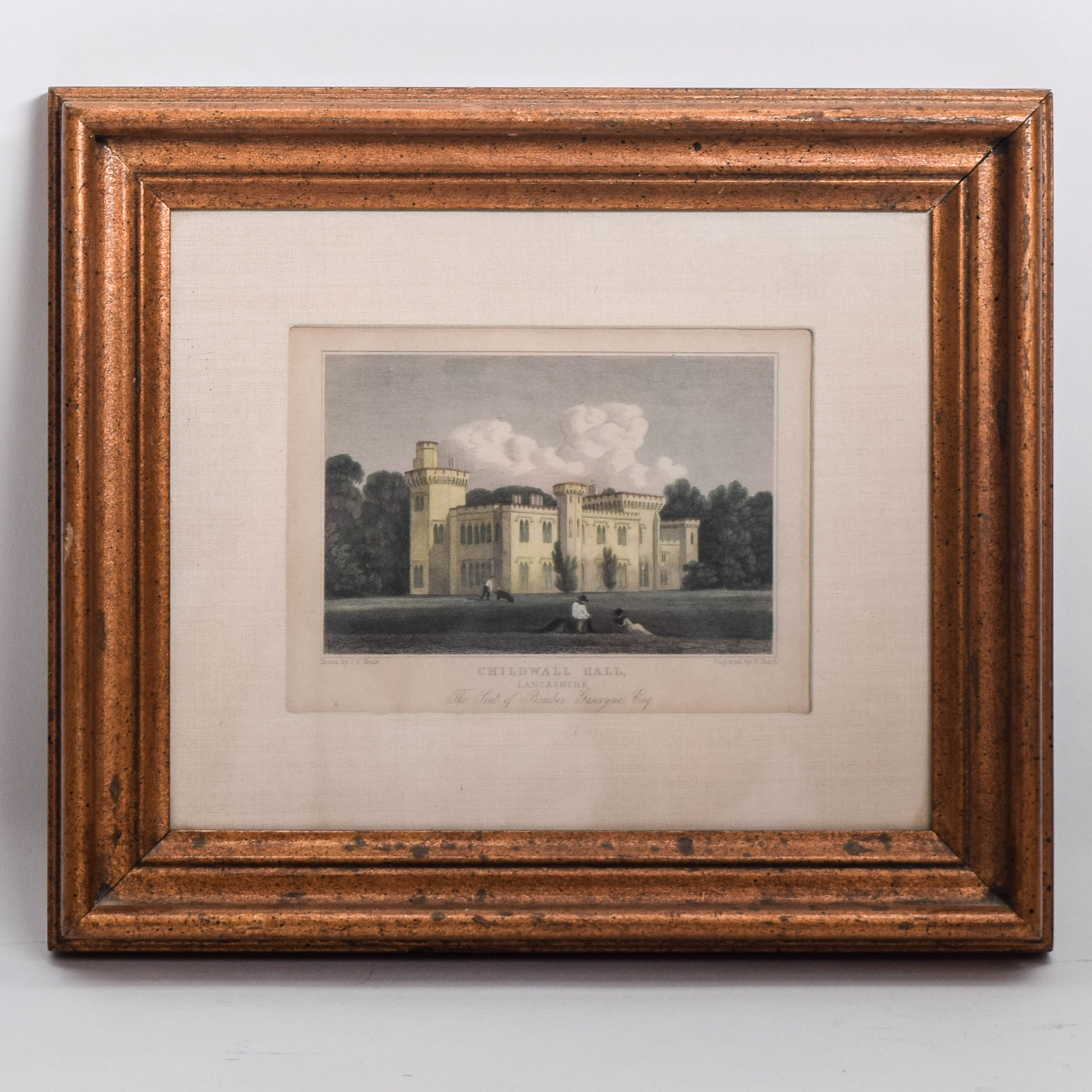 "Antique ""Childwall Hall"" Framed Hand-Colored Engraving"