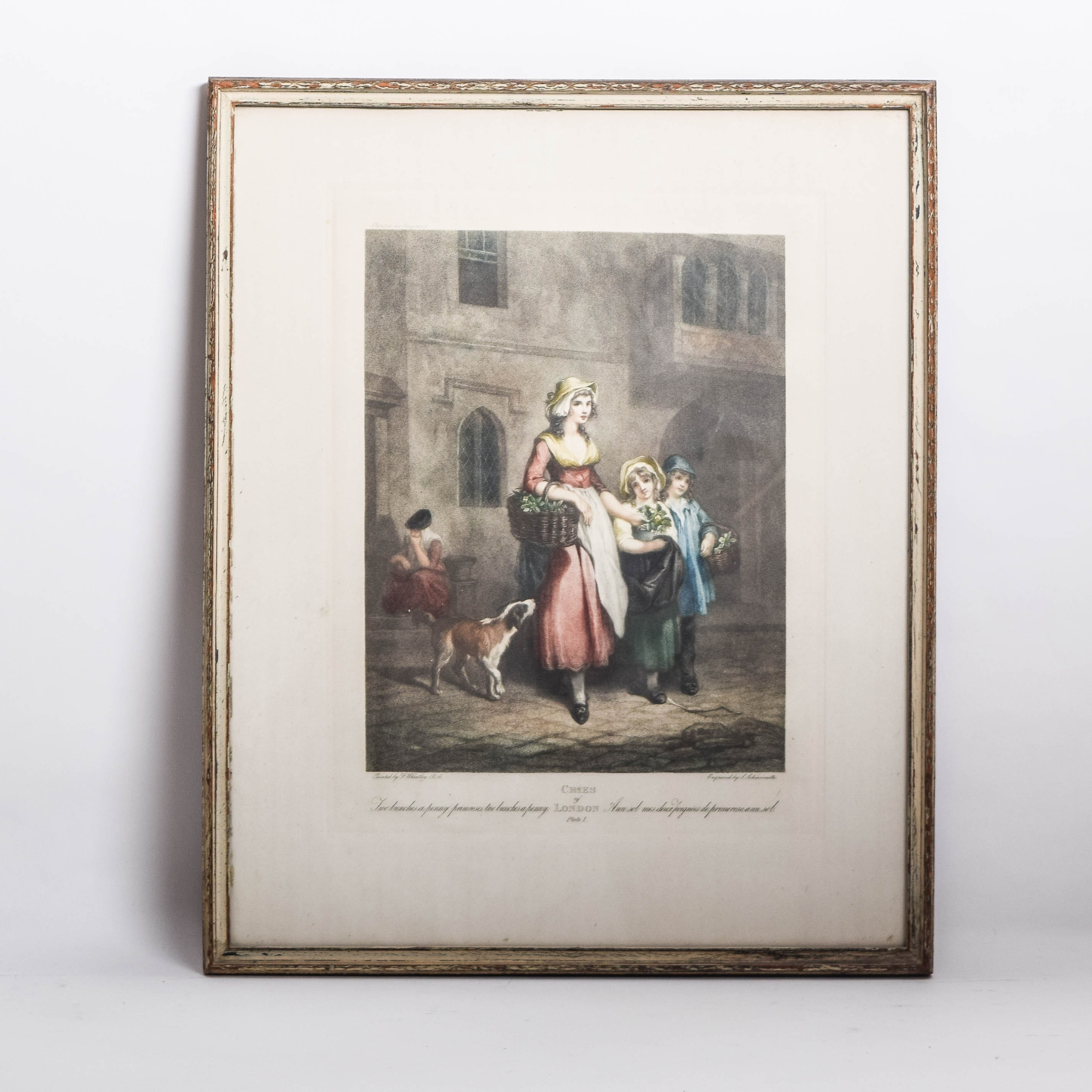 "Antique ""Cries of London: Plate I"" Framed Hand-Painted Engraving"