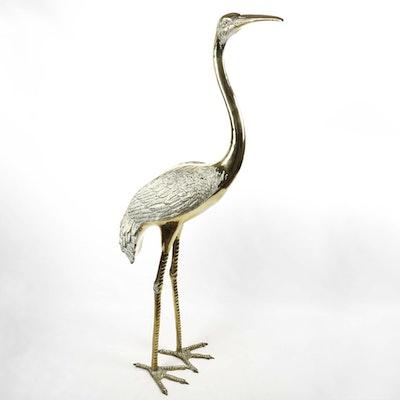 Life-Size Brass Crane Sculpture