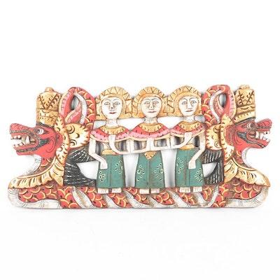 Thai Hand Carved Dragon Panel