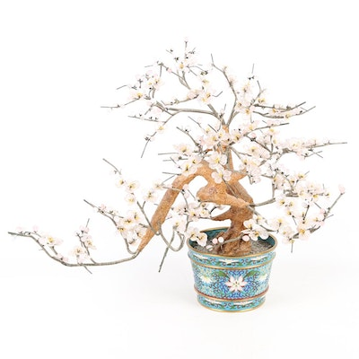 Beaded Cherry Blossom Sculpture in Cloisonné Urn