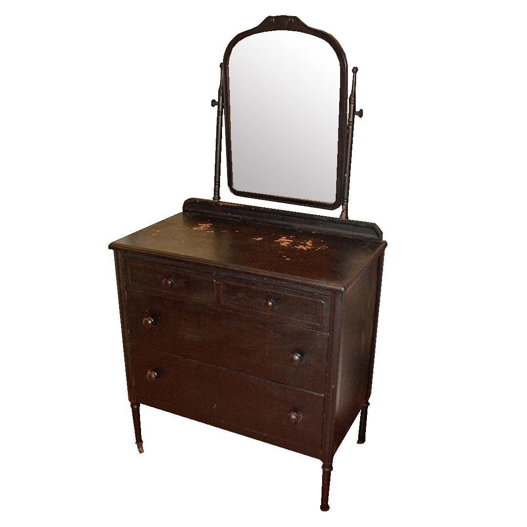 Vintage Painted Metal Chest of Drawers With Vanity Mirror