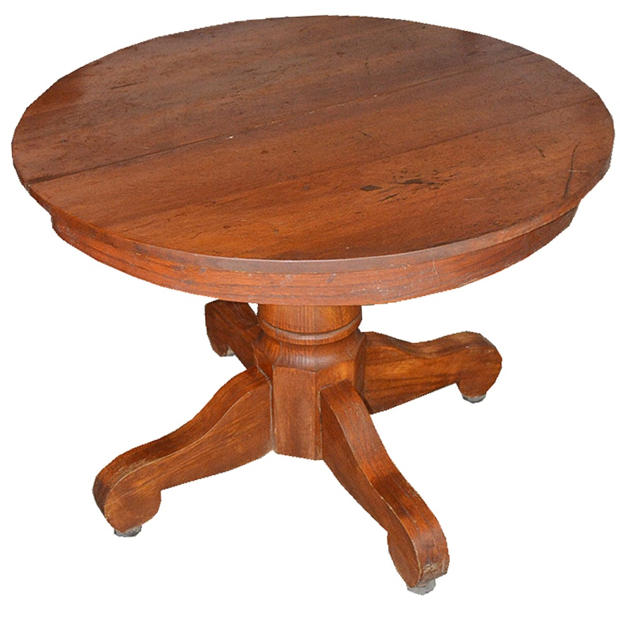 Antique Oak Pedestal Table With Leaves