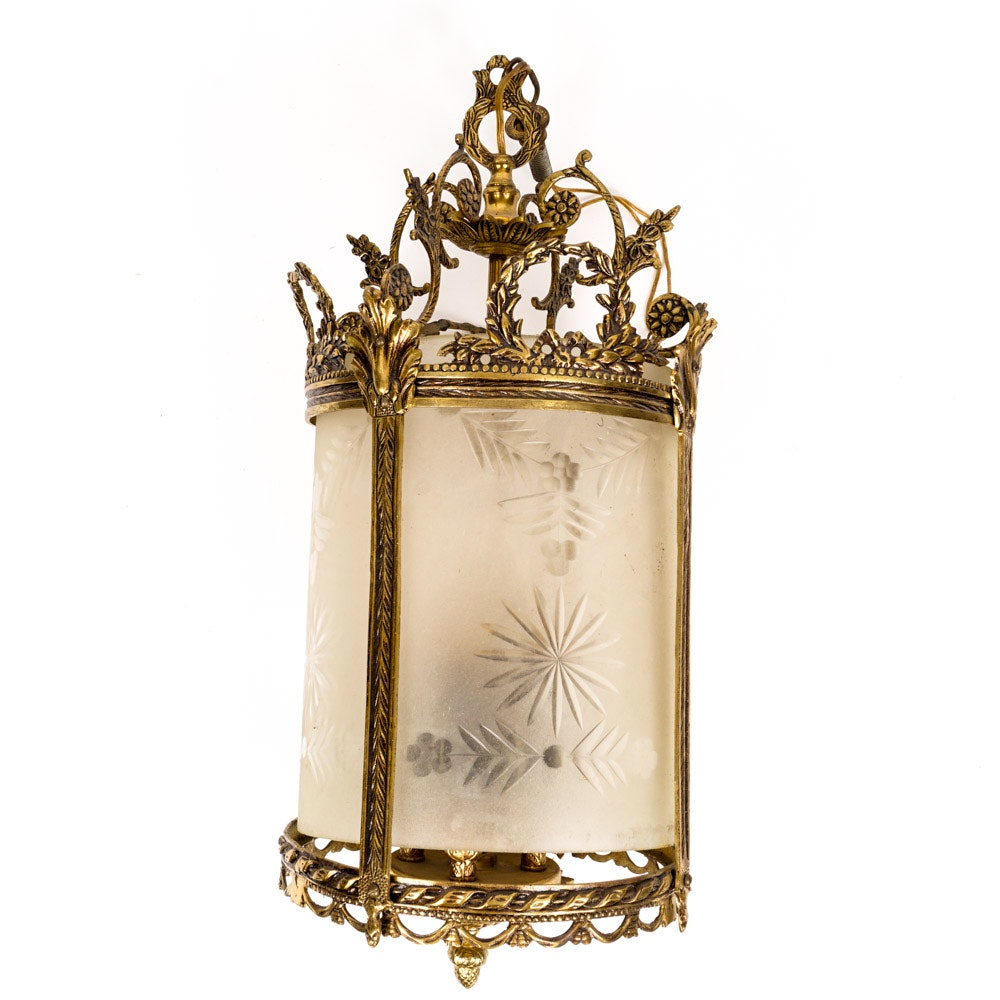 Vintage Gold and Glass Light Fixture