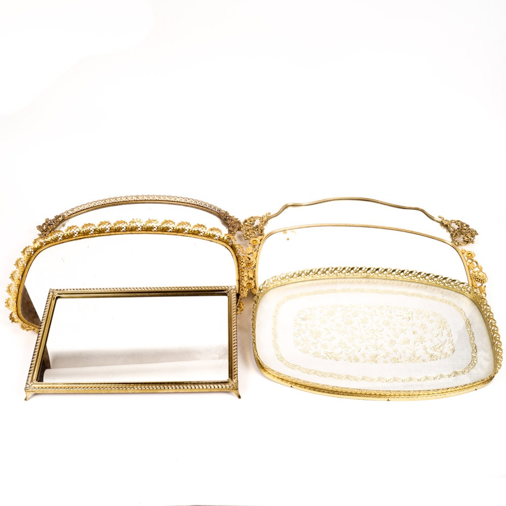 Variety of Vintage Gold-Framed Vanity Trays