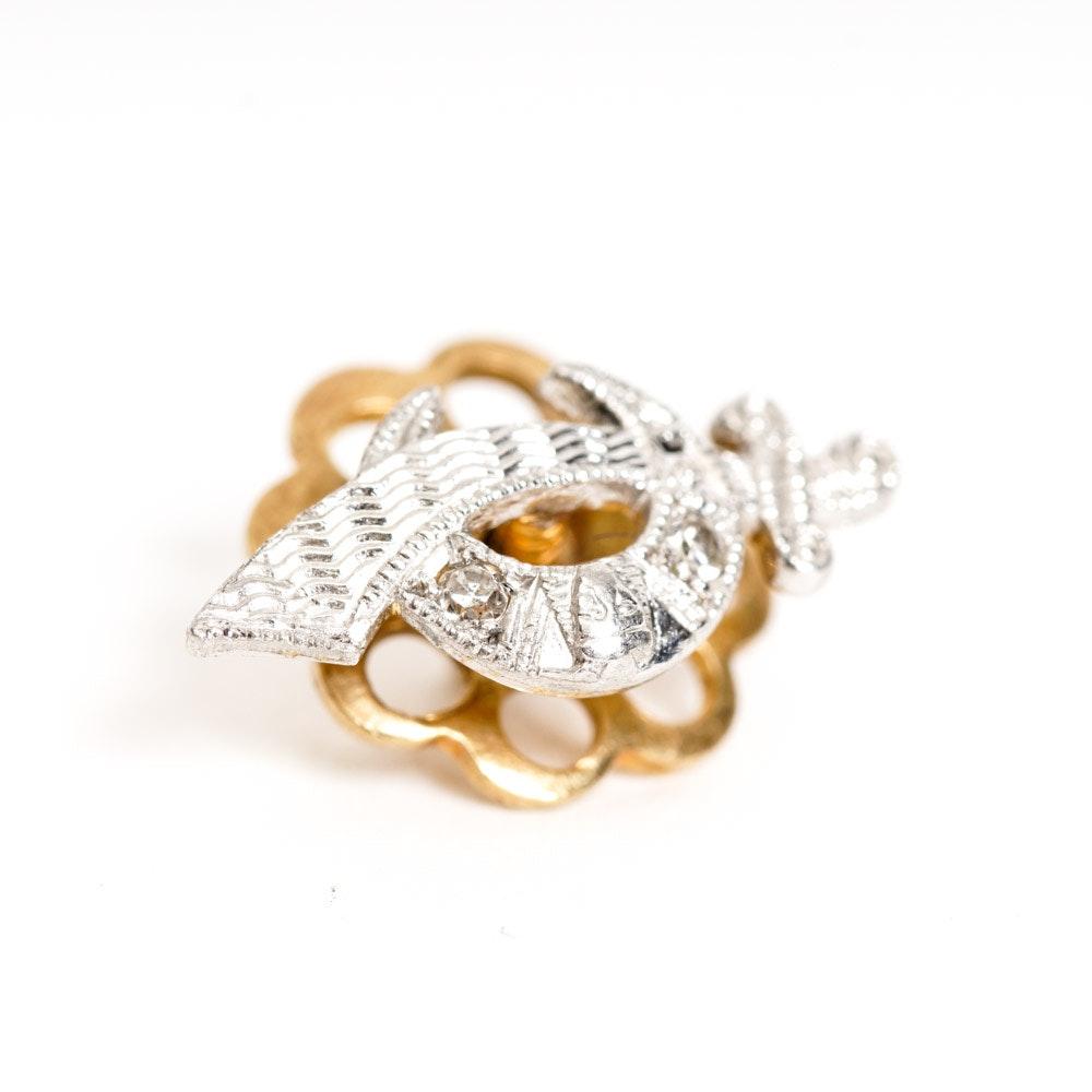 14K Gold and Diamond Pin