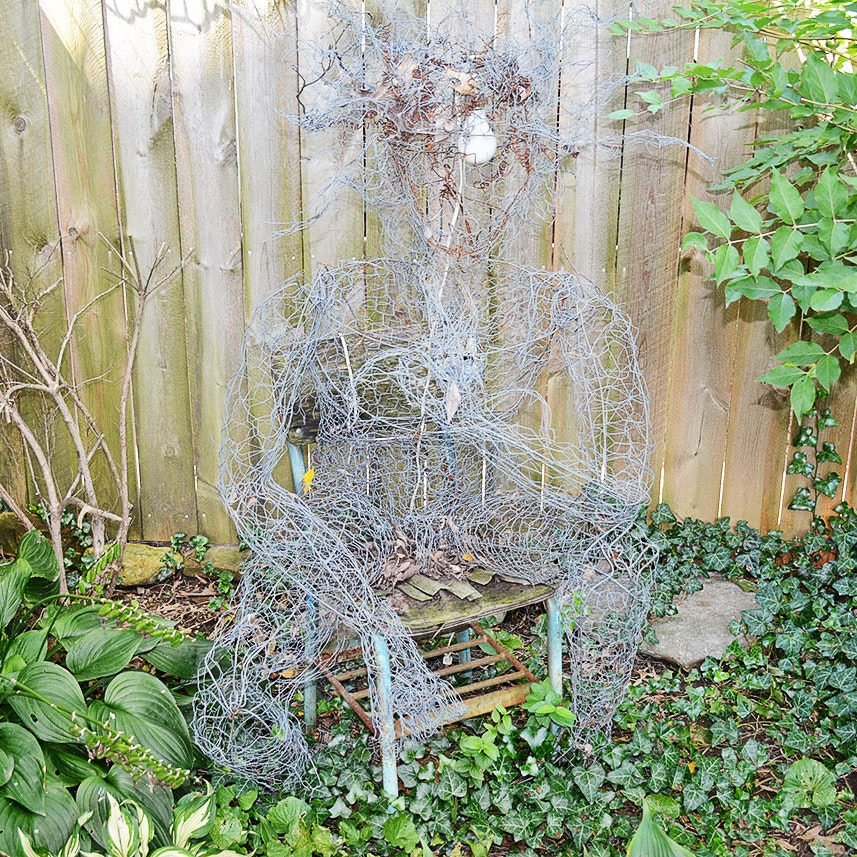 Large Scale Chicken Wire Sculpture of a Seated Thinking Figure