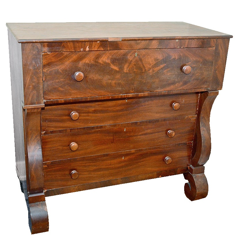 Antique Mahogany Empire Style Chest of Drawers, c. 1840