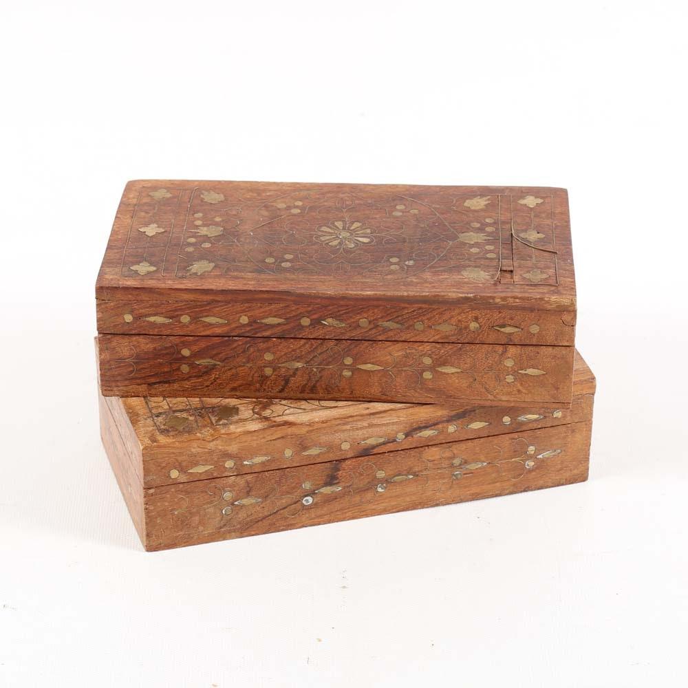 Inlaid Teak Boxes