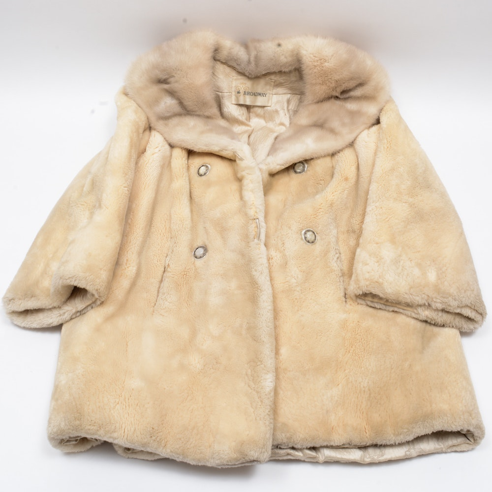 Vintage White Beaver Double Breasted Fur Coat