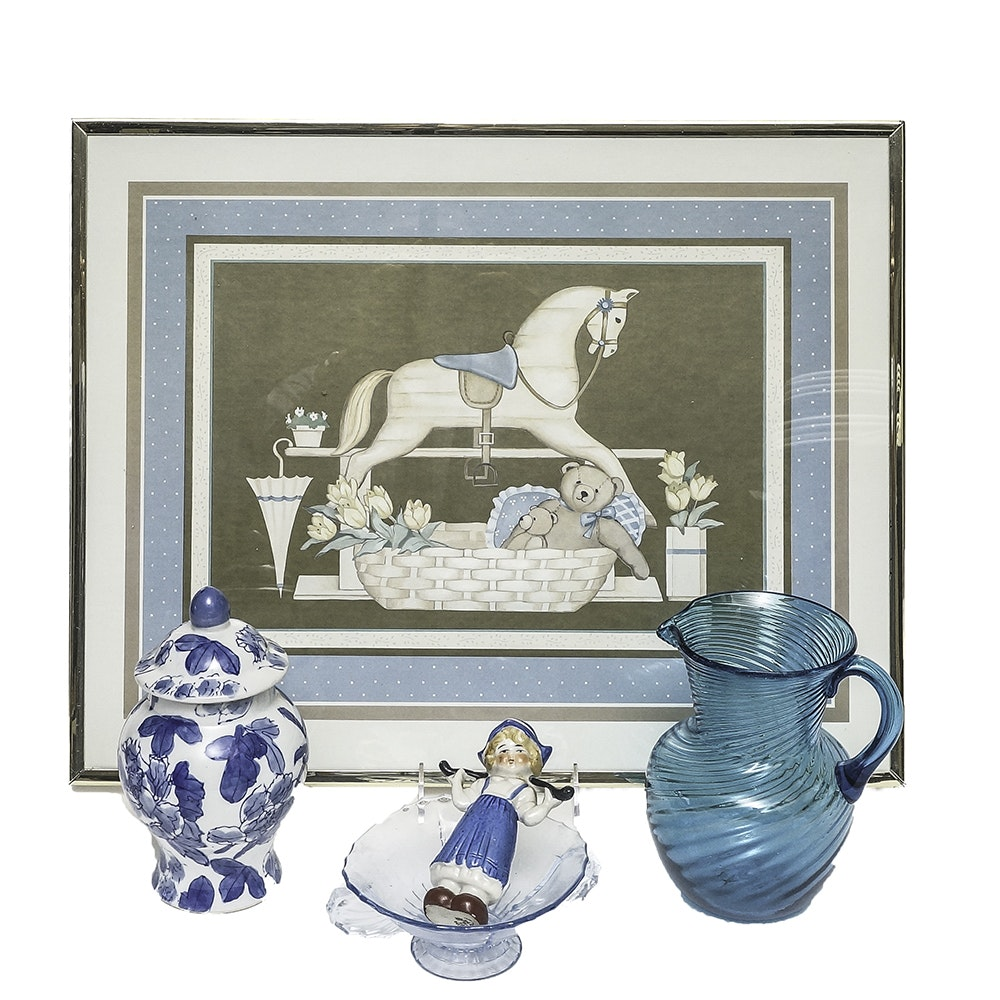 Assortment of Home Decor in Blue