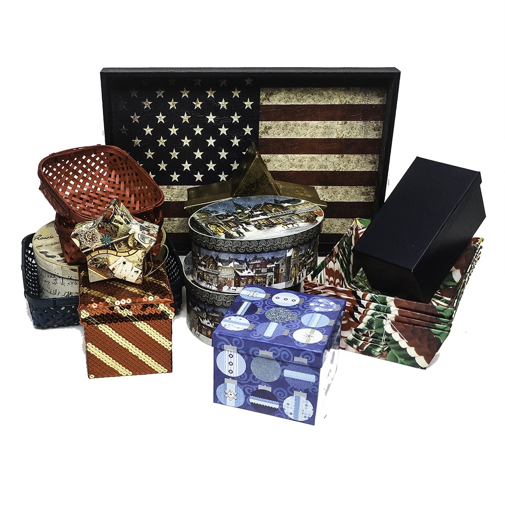 Assortment of Christmas Gift Boxes and American Flag Tray