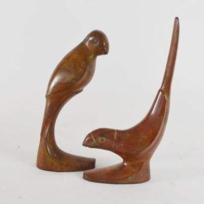 Mid-Century Modern Pair of Metal Bird Bookends