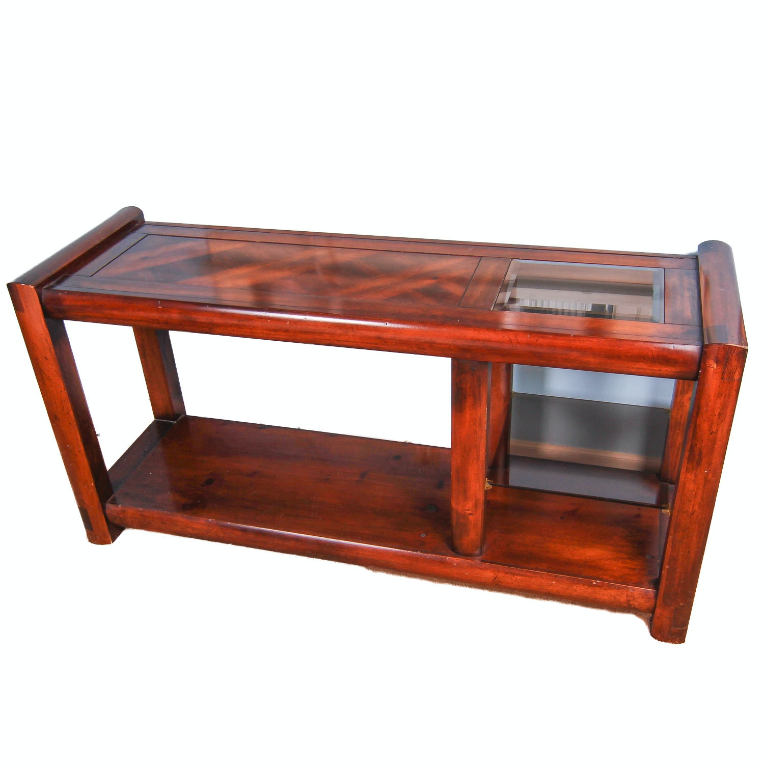 Console Table with Parquetry and Glass Inlays