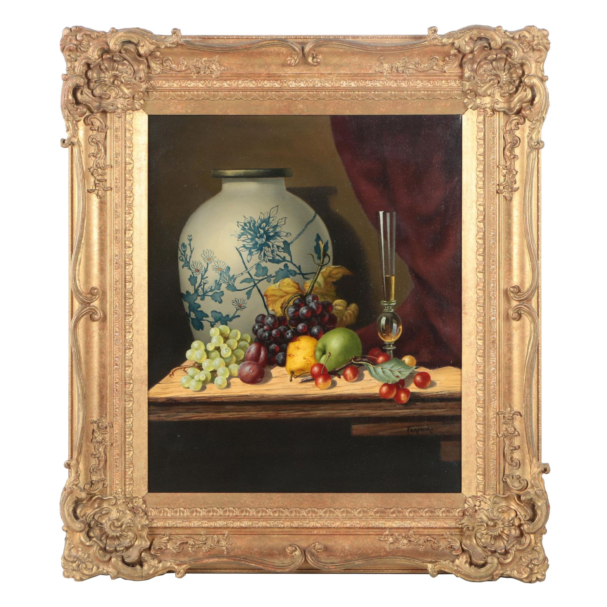Fermor Oil Still-Life Painting with Fruit, Wine and Porcelain