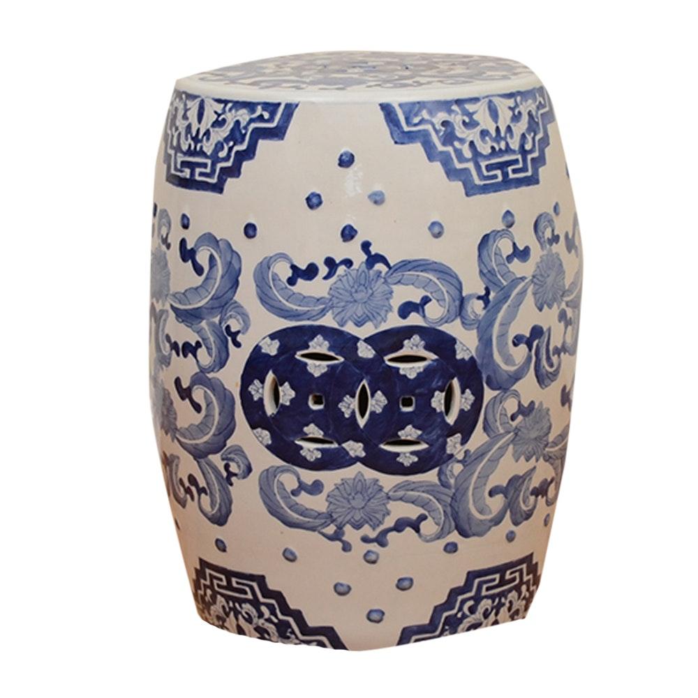 Chinese Ceramic Blue and White Garden Stool