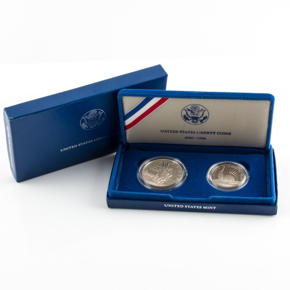 1986 S U.S. Liberty Commemorative Two Coin Proof Set