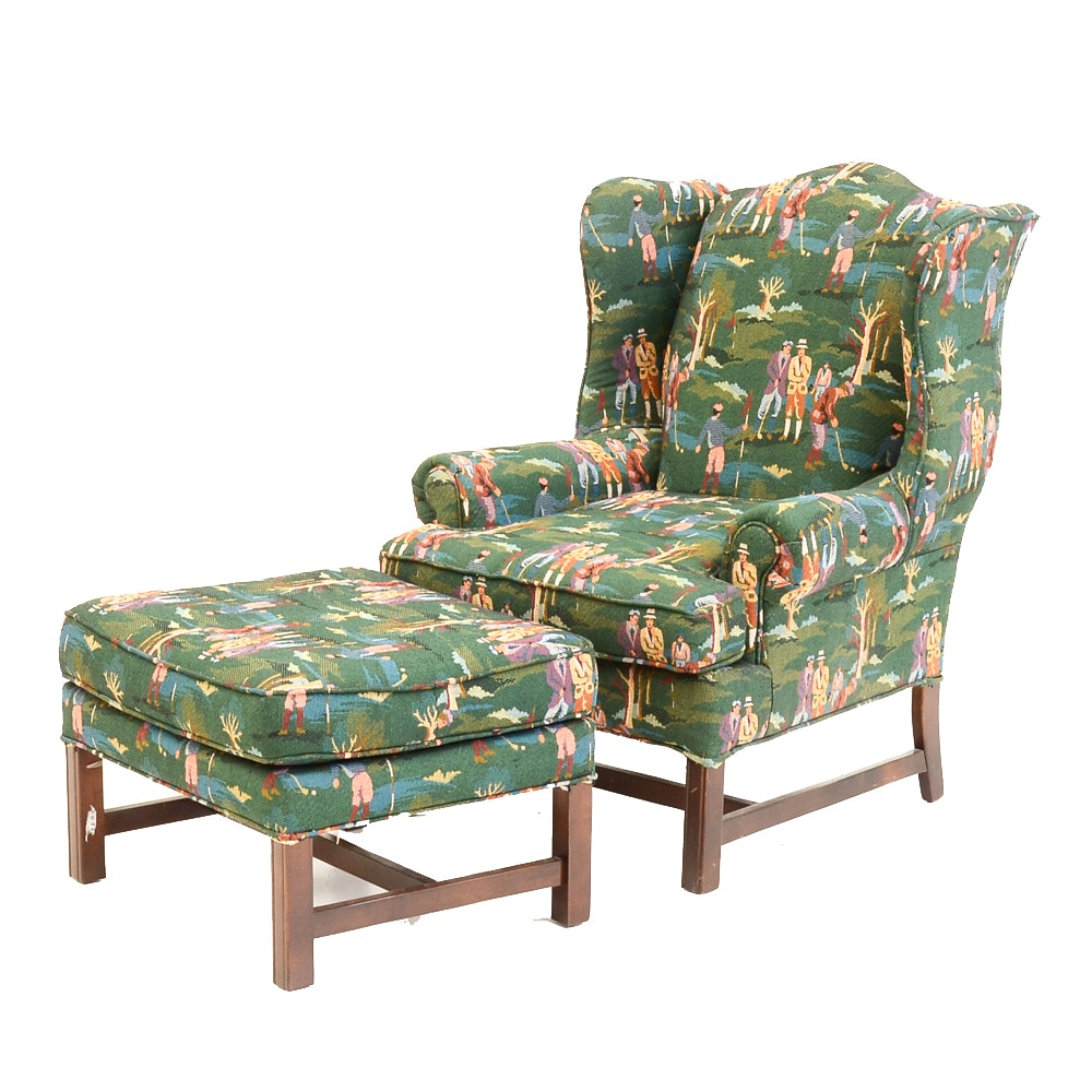 Golf Themed Upholstered Wing Chair and Ottoman