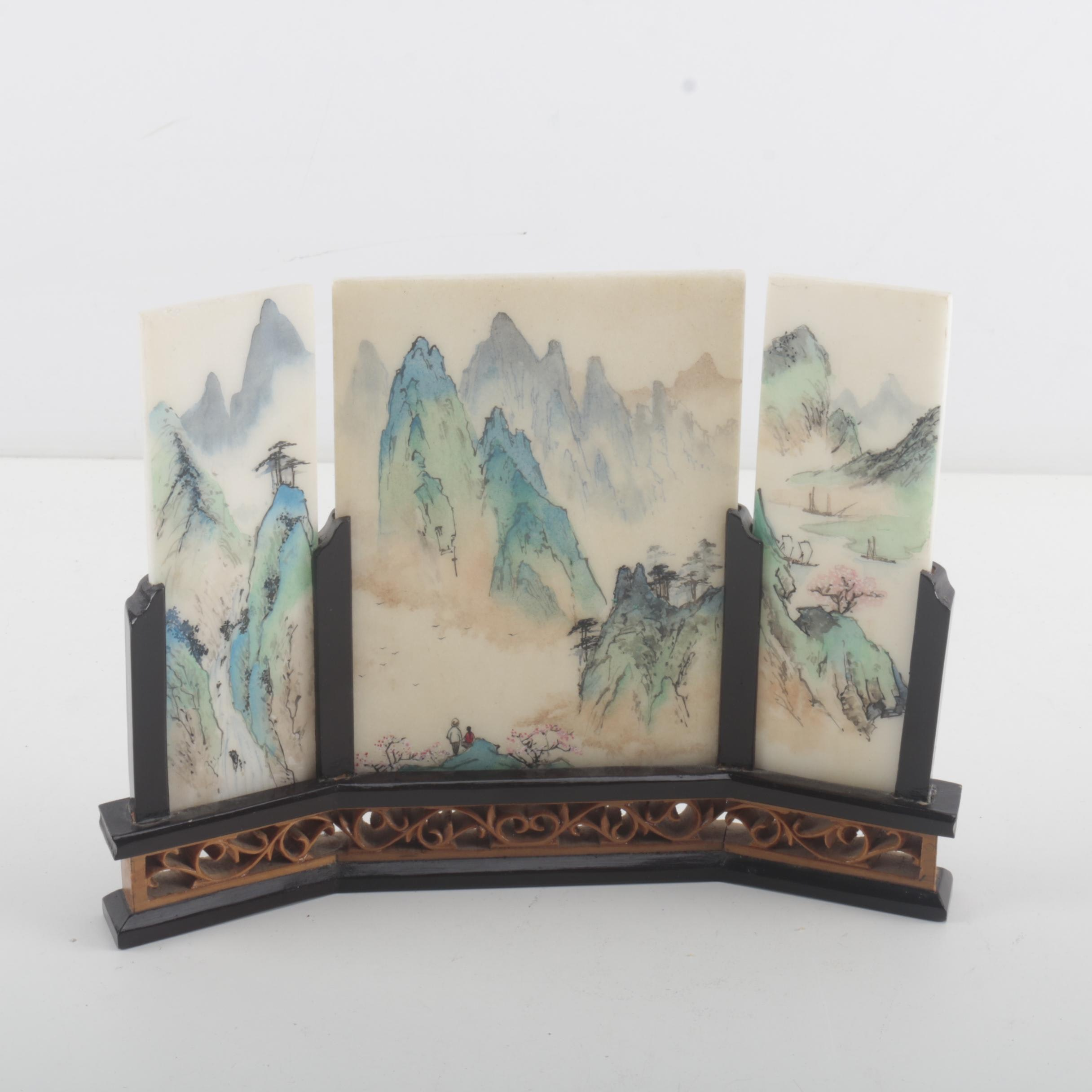 Chinese Painted Marble Panel Decoration
