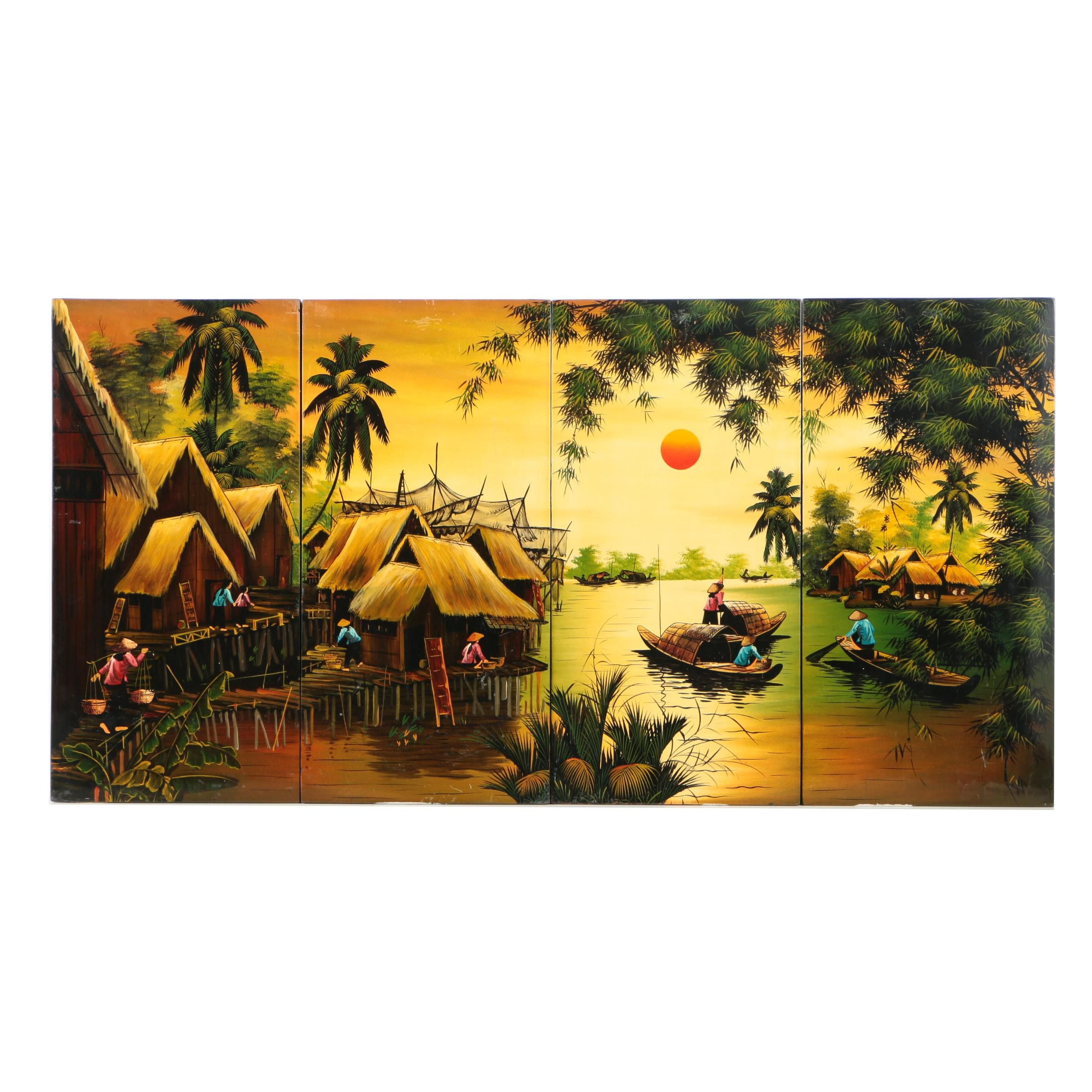 Quadriptych Oil Painting on Wood Panels of a South East Asian River Landscape