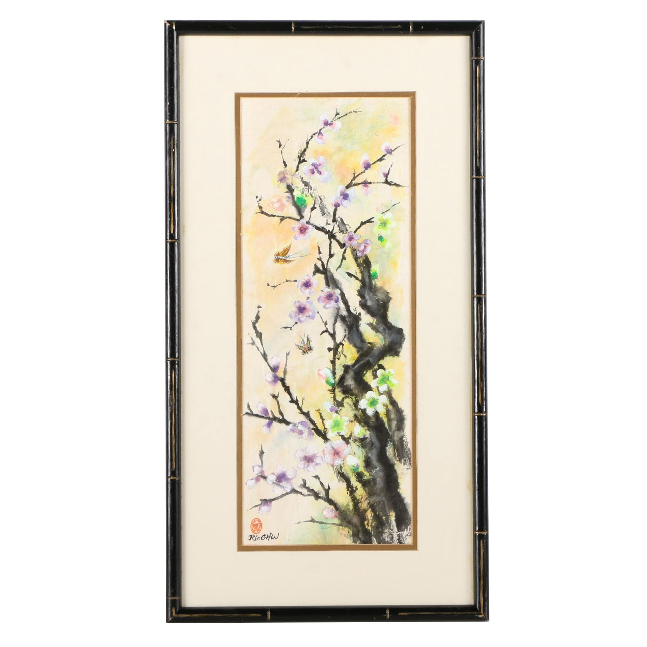 Ric Chin Gouache Painting on Paper of Cherry Blossoms
