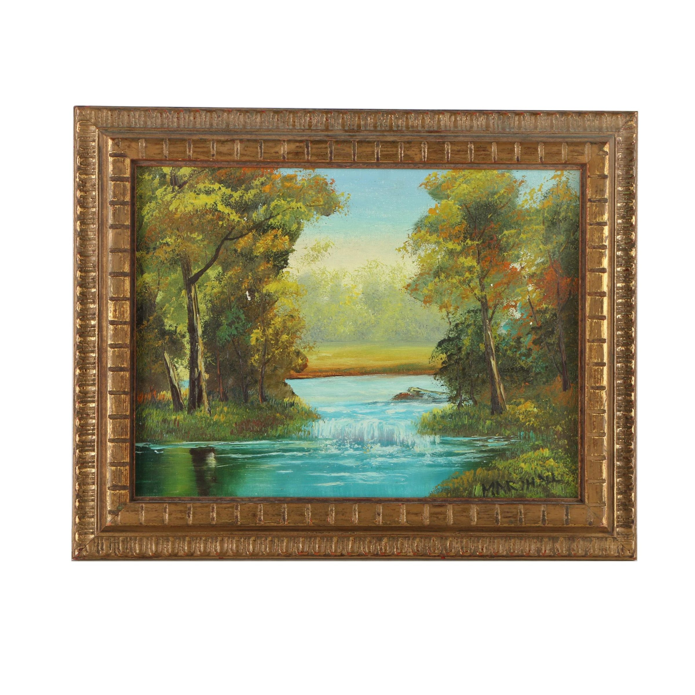 Marshall Oil Painting on Canvas of a Wooded Landscape