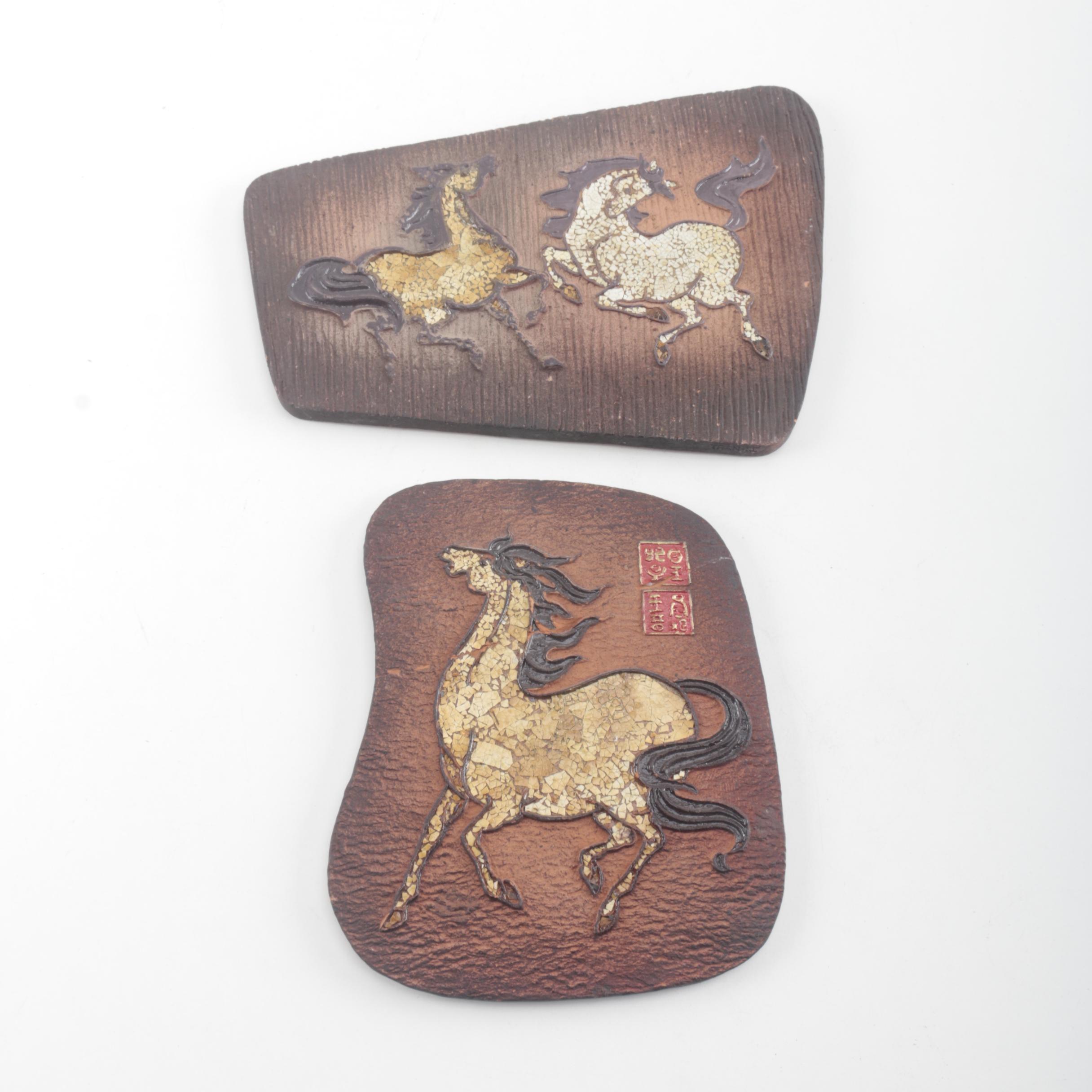 Chinese Ceramic Decorative Horse Plaques
