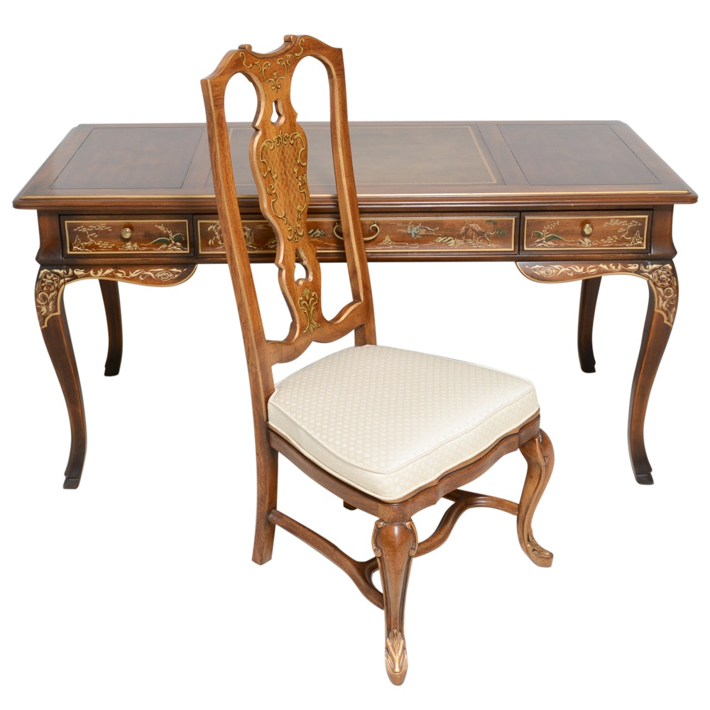 Drexel Chinoiserie Desk and Chair