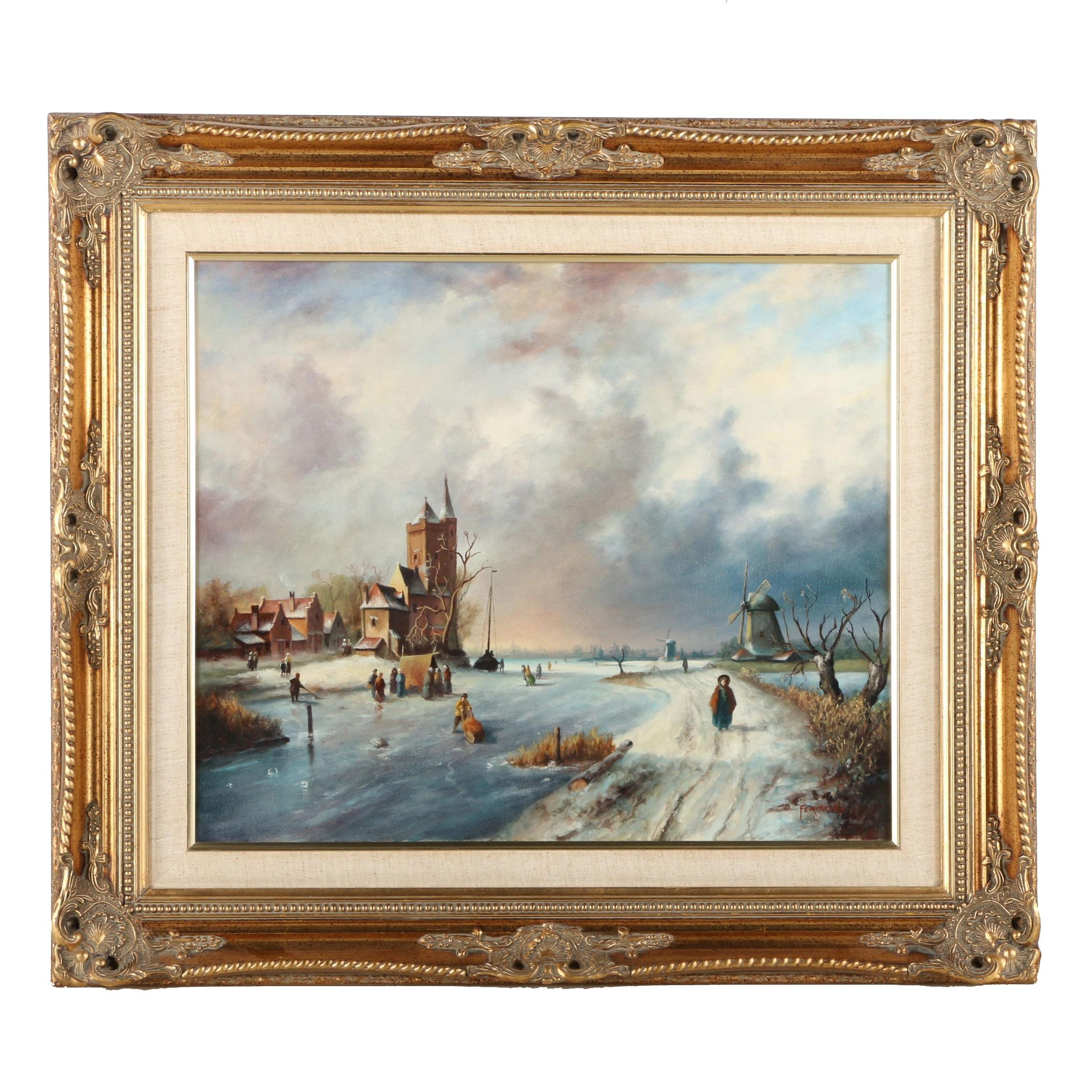 Fermor Oil Painting on Canvas of a Dutch Winter Landscape