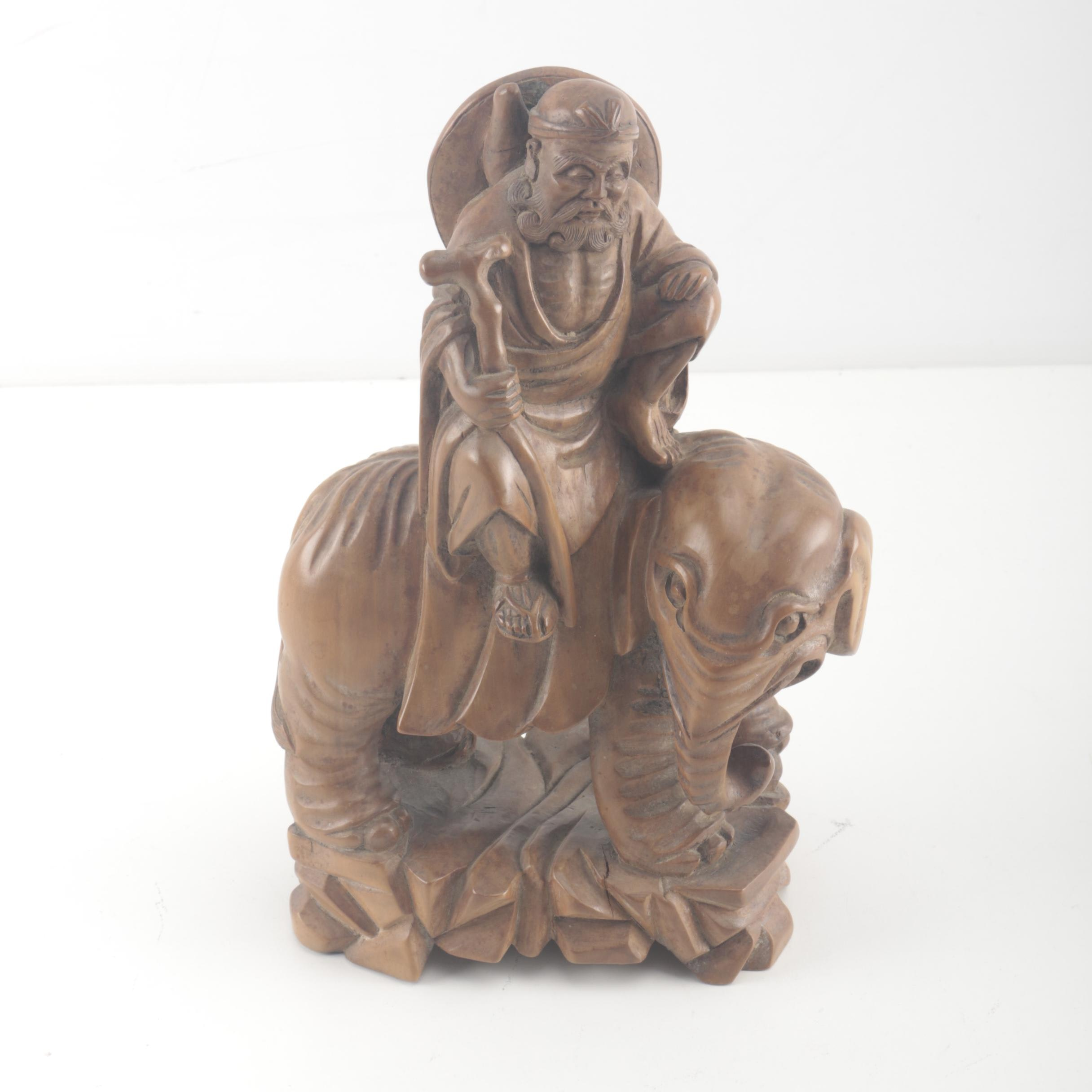 Chinese Carved Wooden Sculpture of a Luohan Riding an Elephant