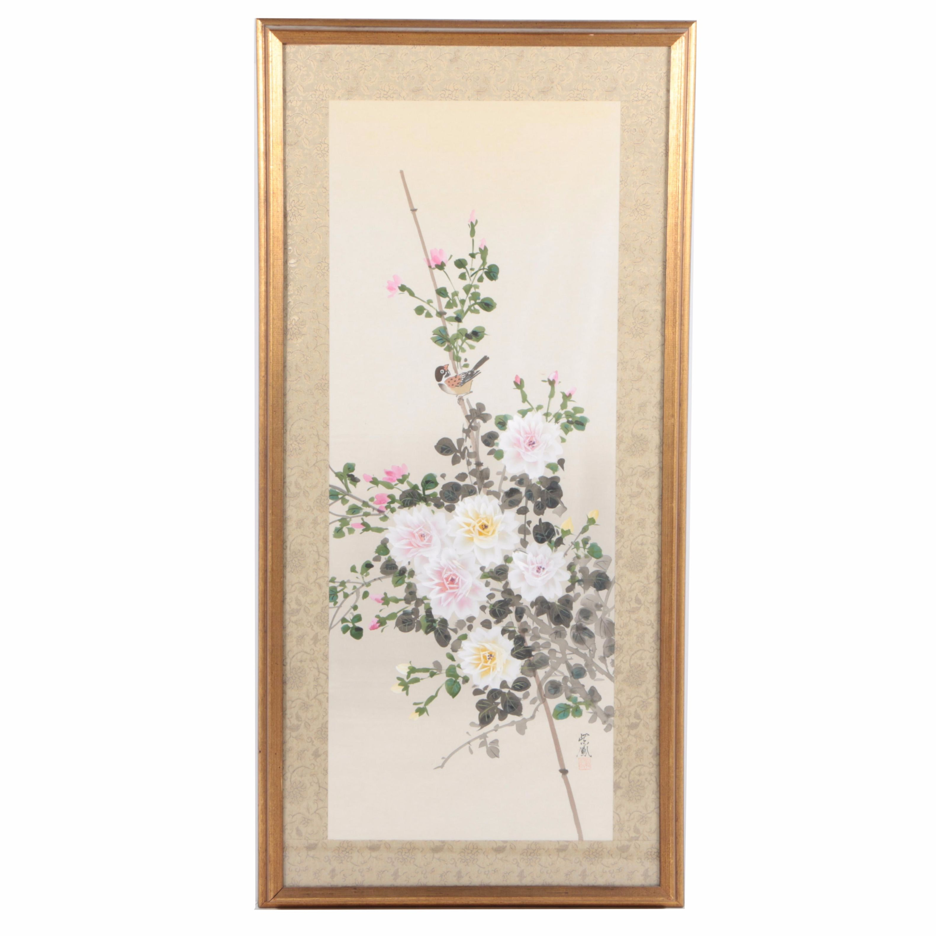 """Shiho Japanese Watercolor Painting on Silk """"Rose and Bird"""""""