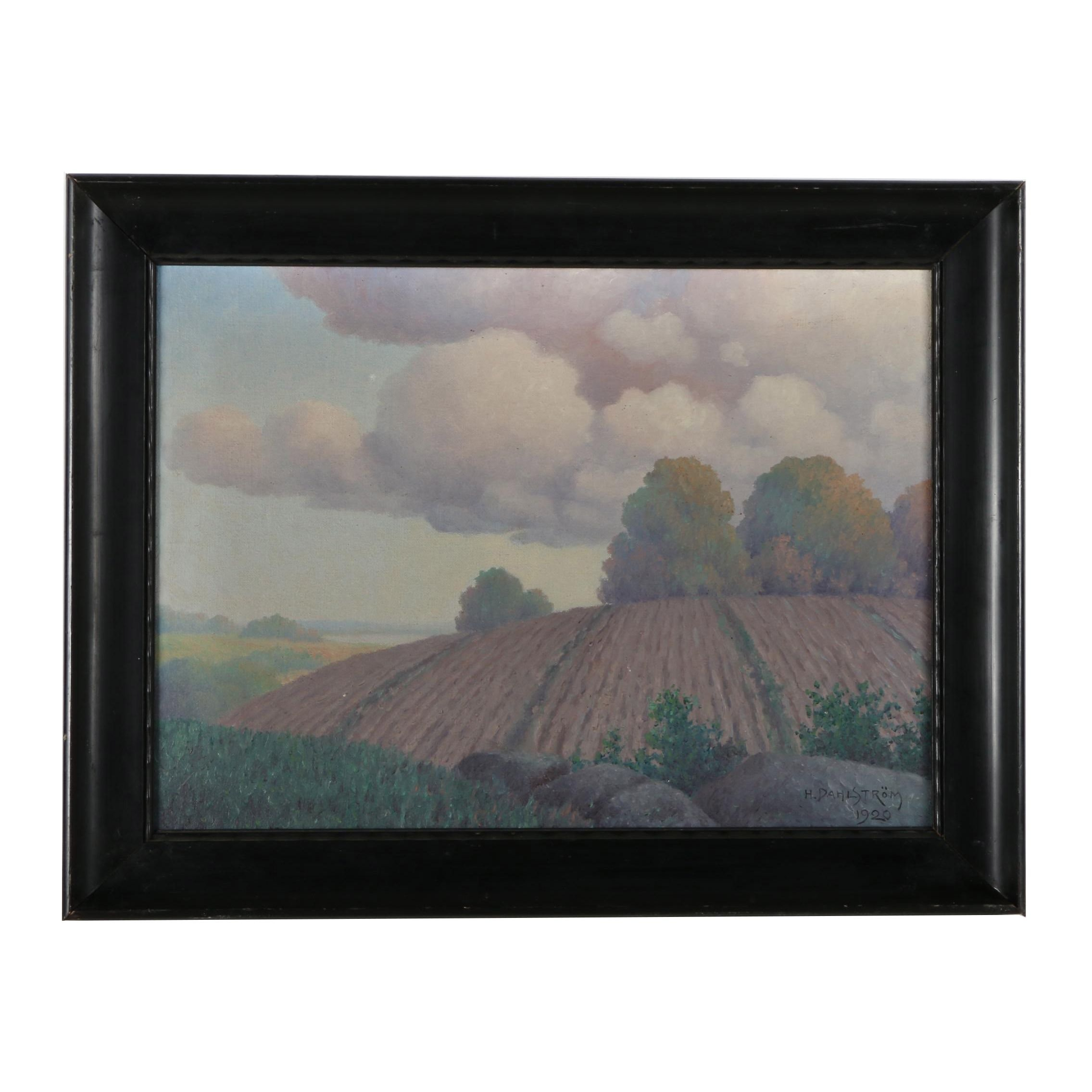 H. Dahlstrom Oil Landscape Painting on Canvas