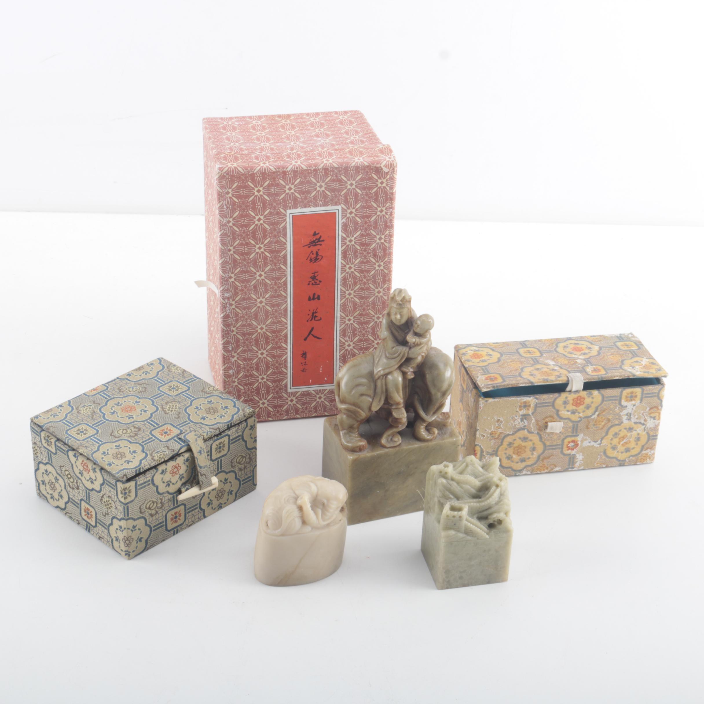 Assortment of Chinese Stone Figurines