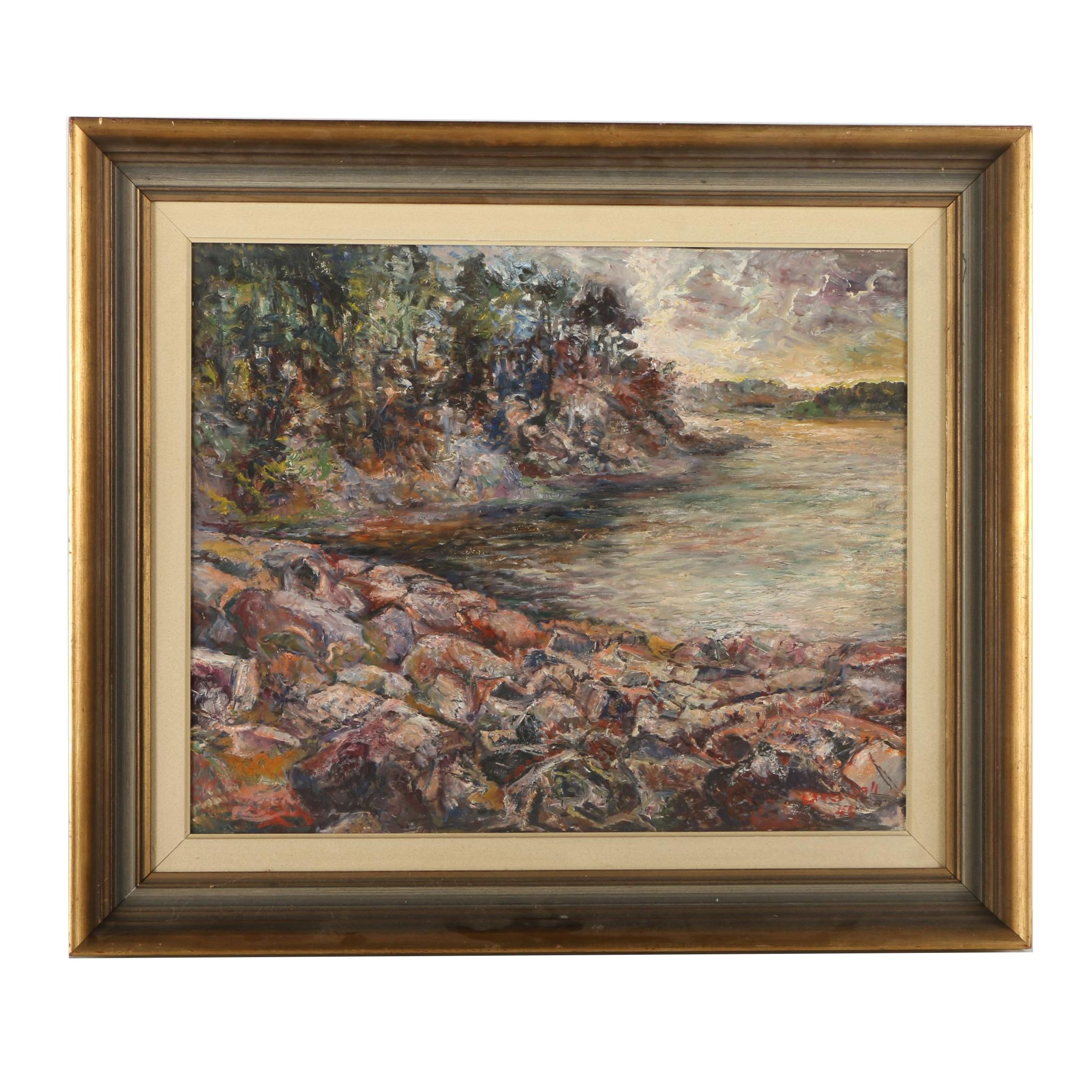 Oil Painting on Board of Rocky Cove