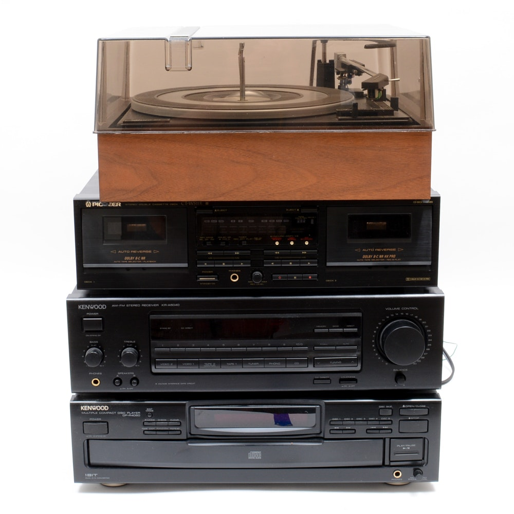 Kenwood Receiver, Allied Turntable and Other A/V Components