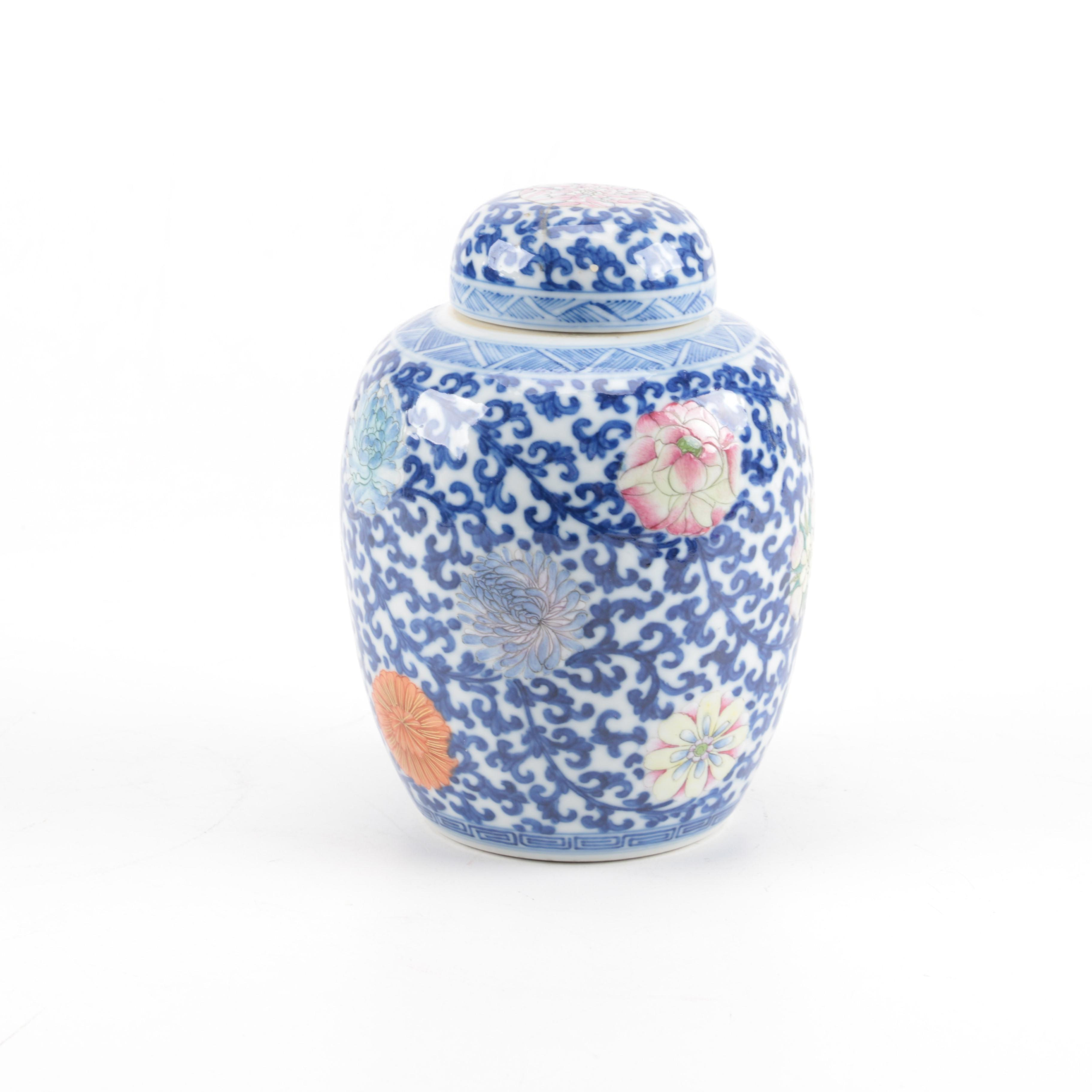 Chinese Porcelain Ginger Jar and Wood Wall Relief