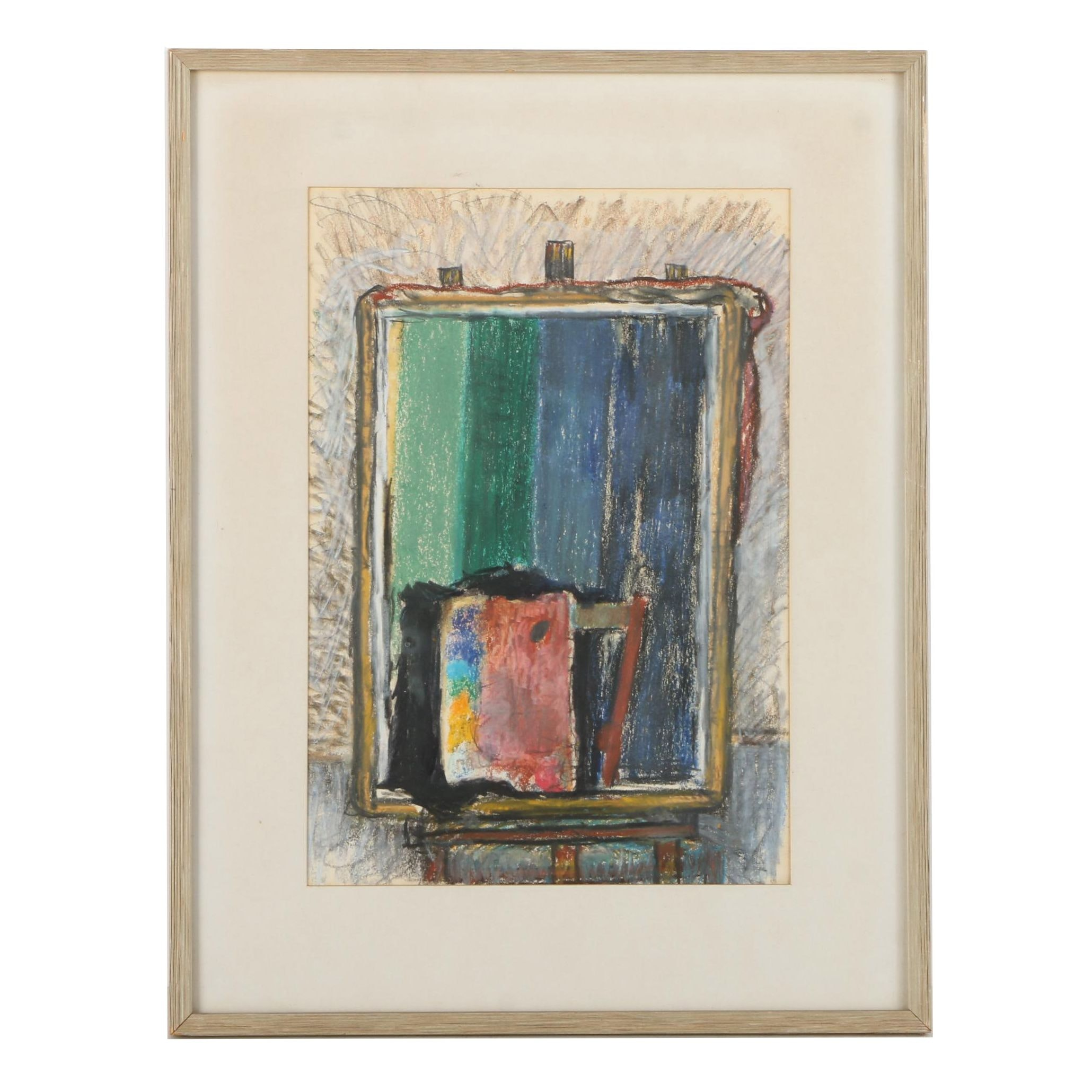 Pastel Drawing on Paper Still Life of An Easel and Palette