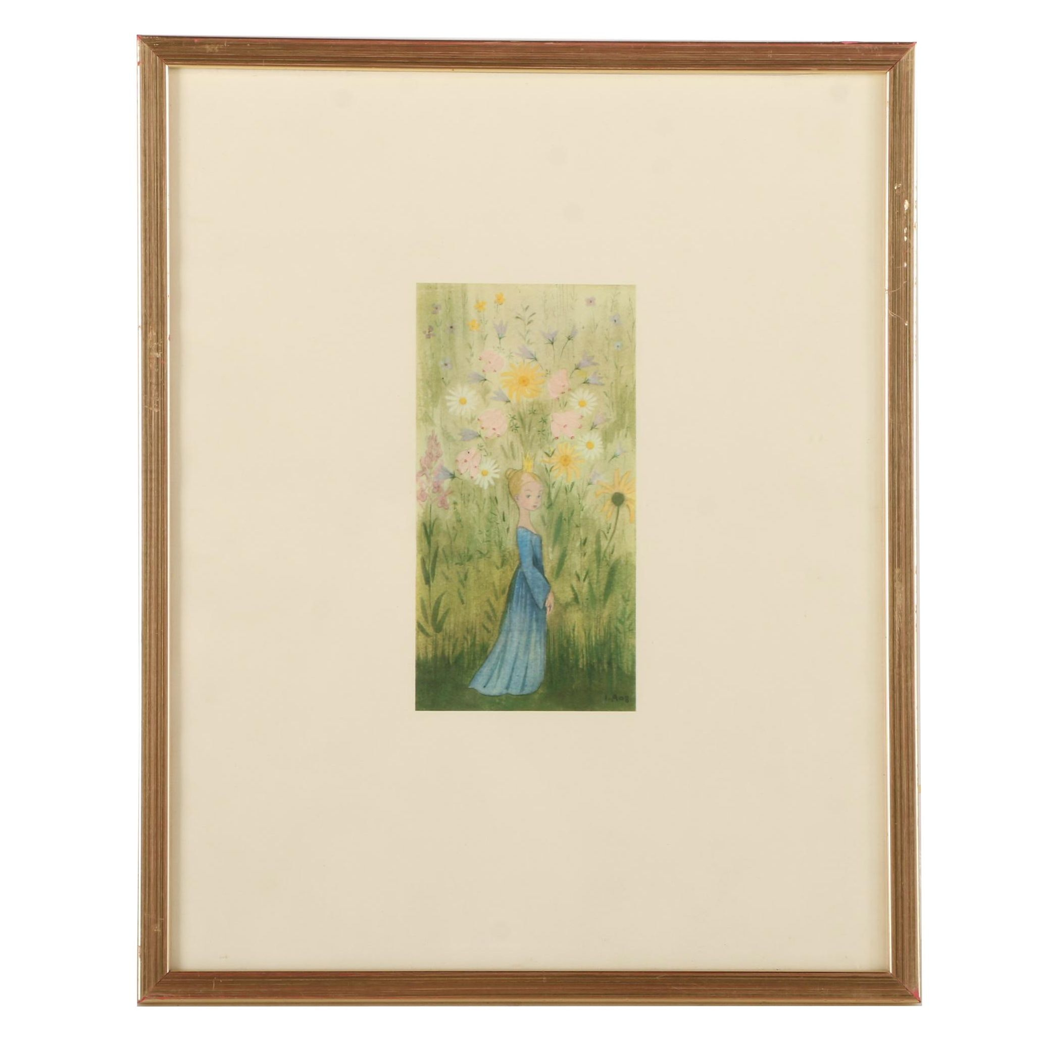 Offset Lithograph of Little Princess Among the Flowers