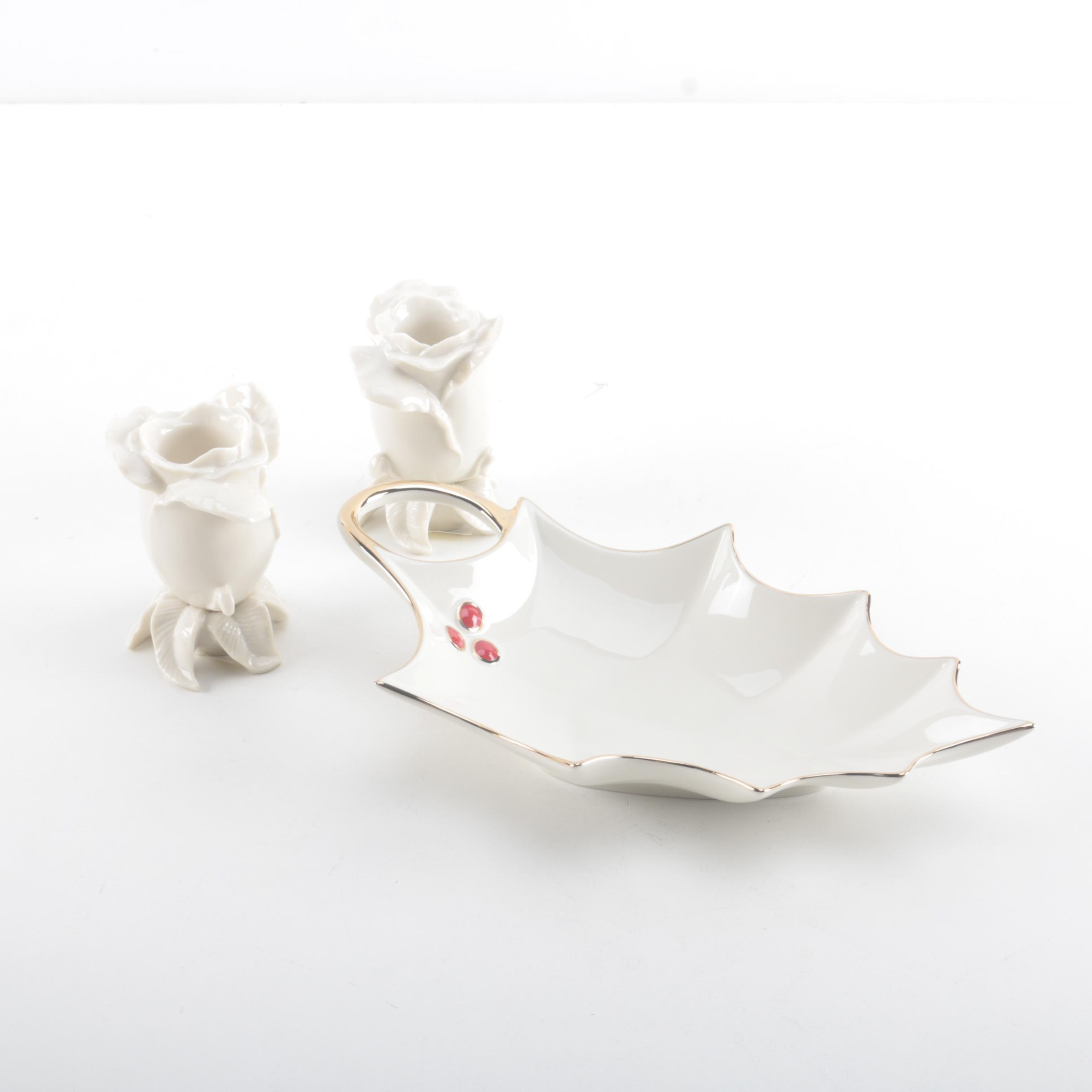 Lenox Porcelain Candle Holders and Dish