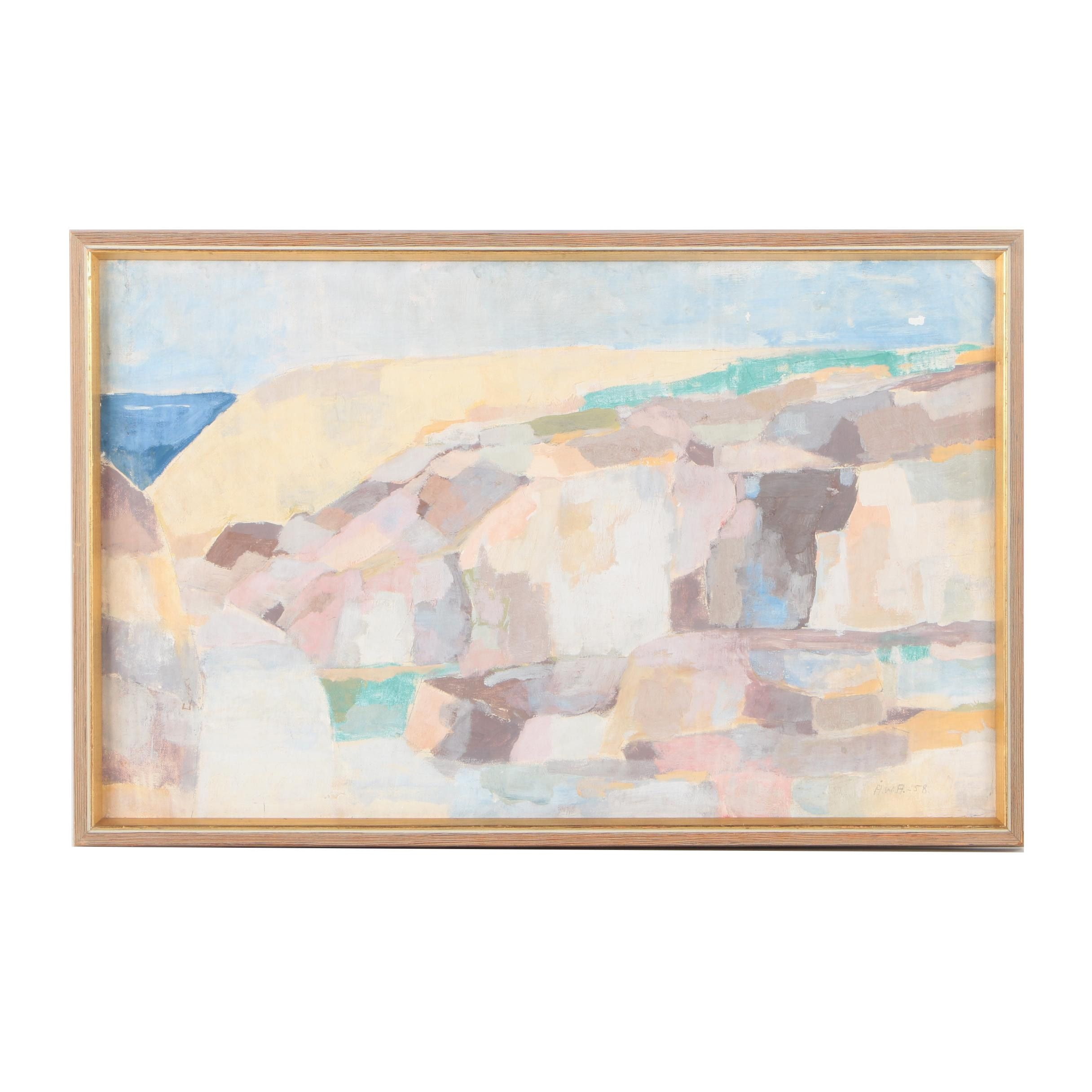 Å.W.A. Painting on Canvas of an Abstract Seascape