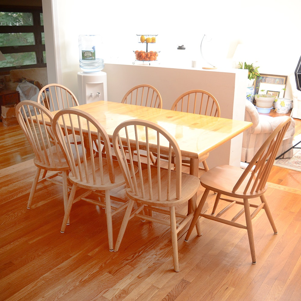 Maple Dining Table With Windsor Style Dining Chairs ...