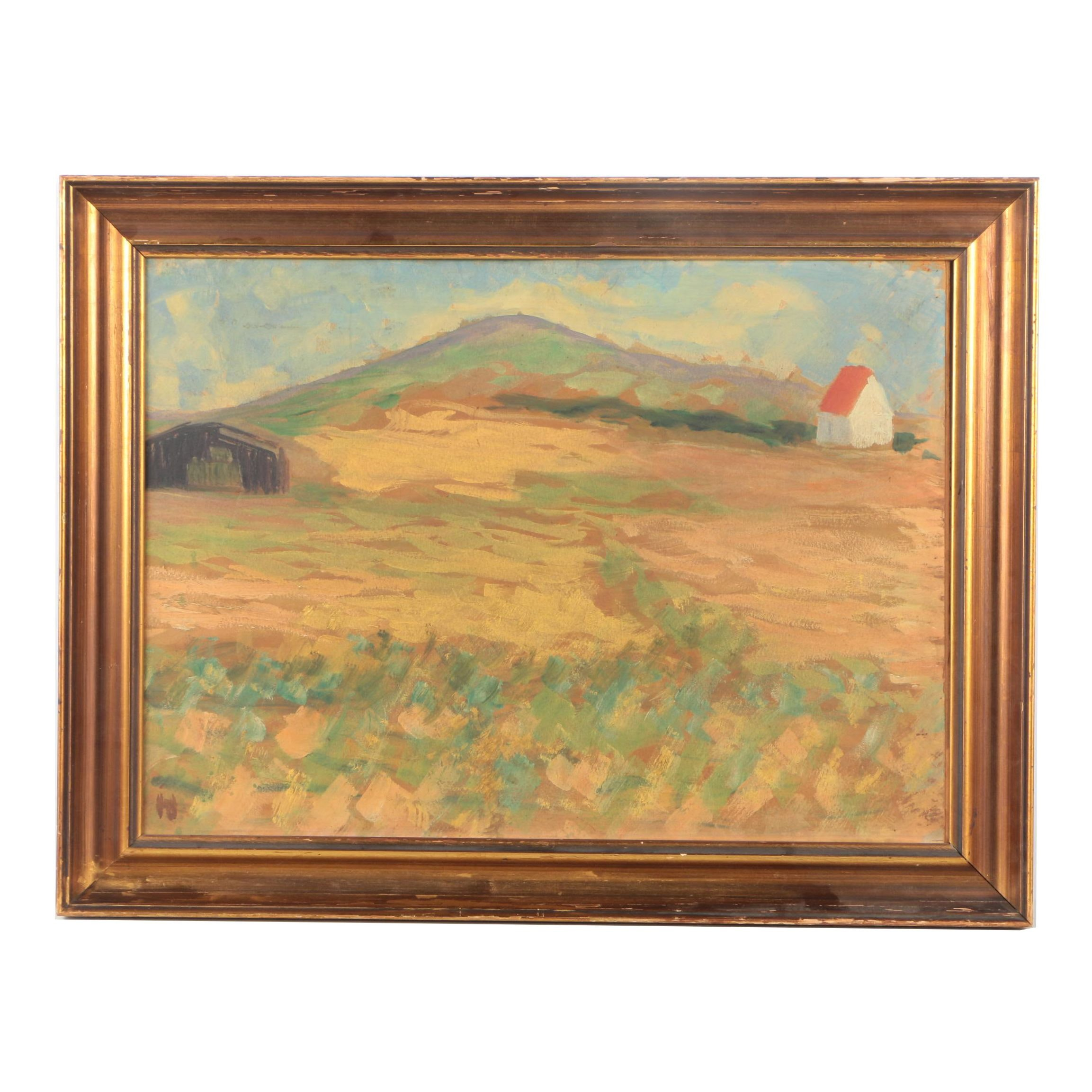 Framed Oil Painting on Panel of a Landscape
