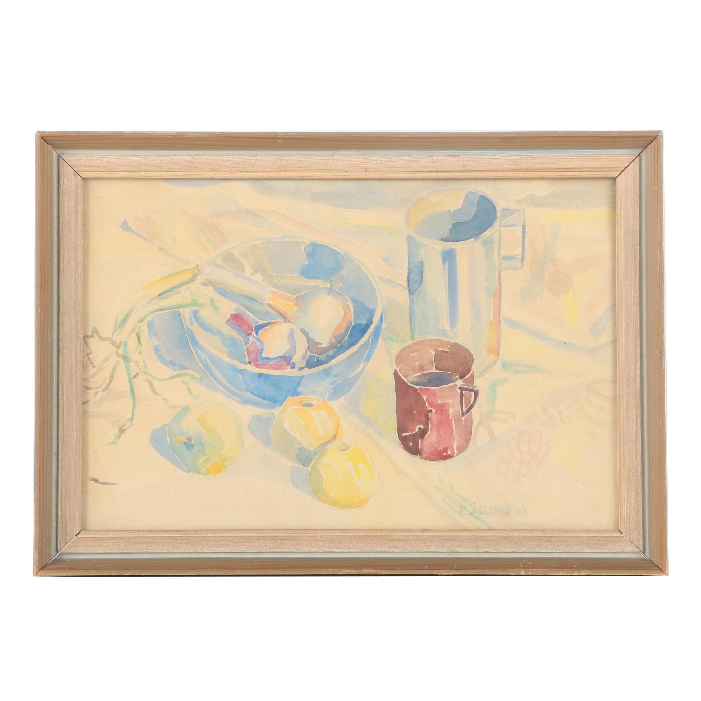 E. Åslund Watercolor Still Life