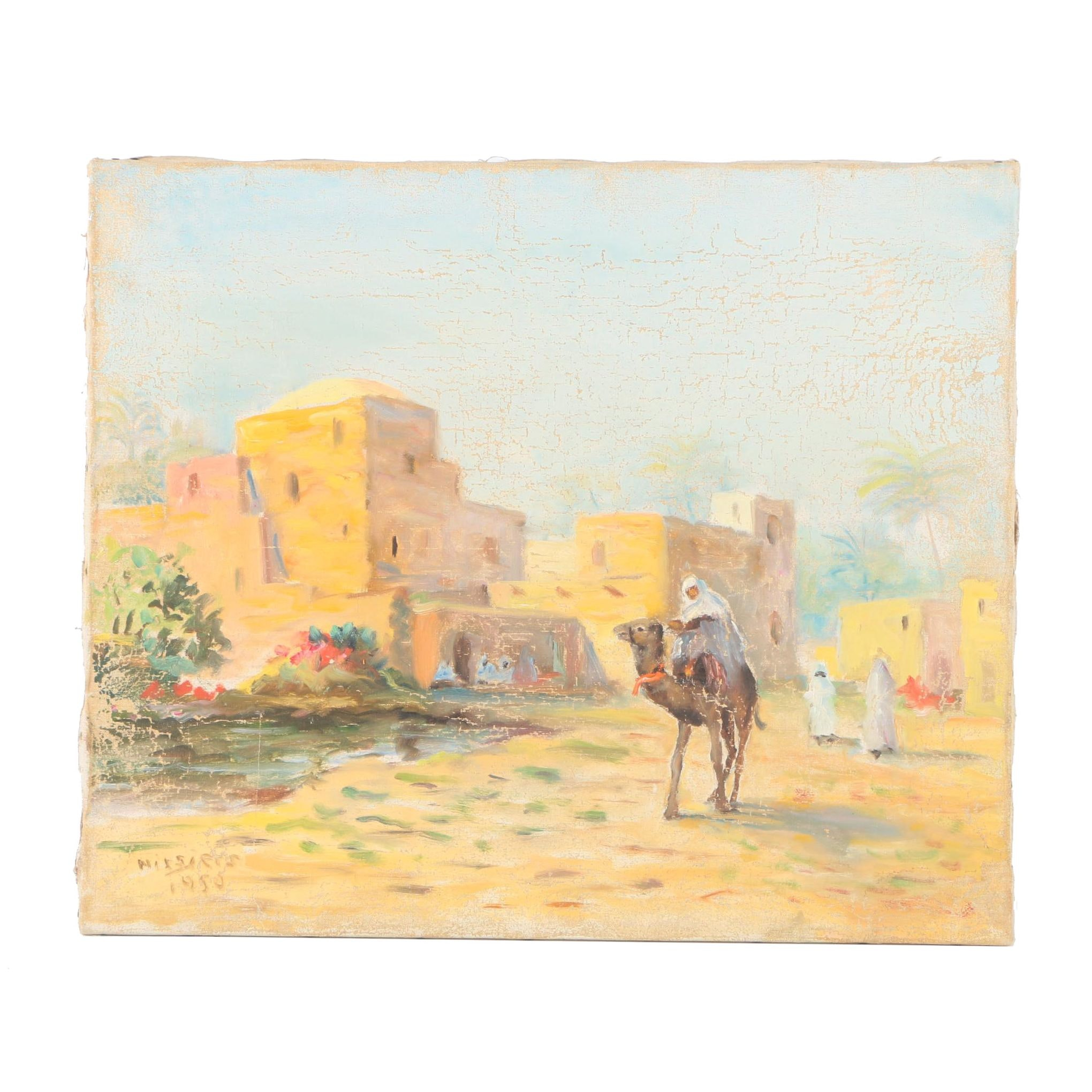 Oil Painting on Canvas of Person Riding a Camel