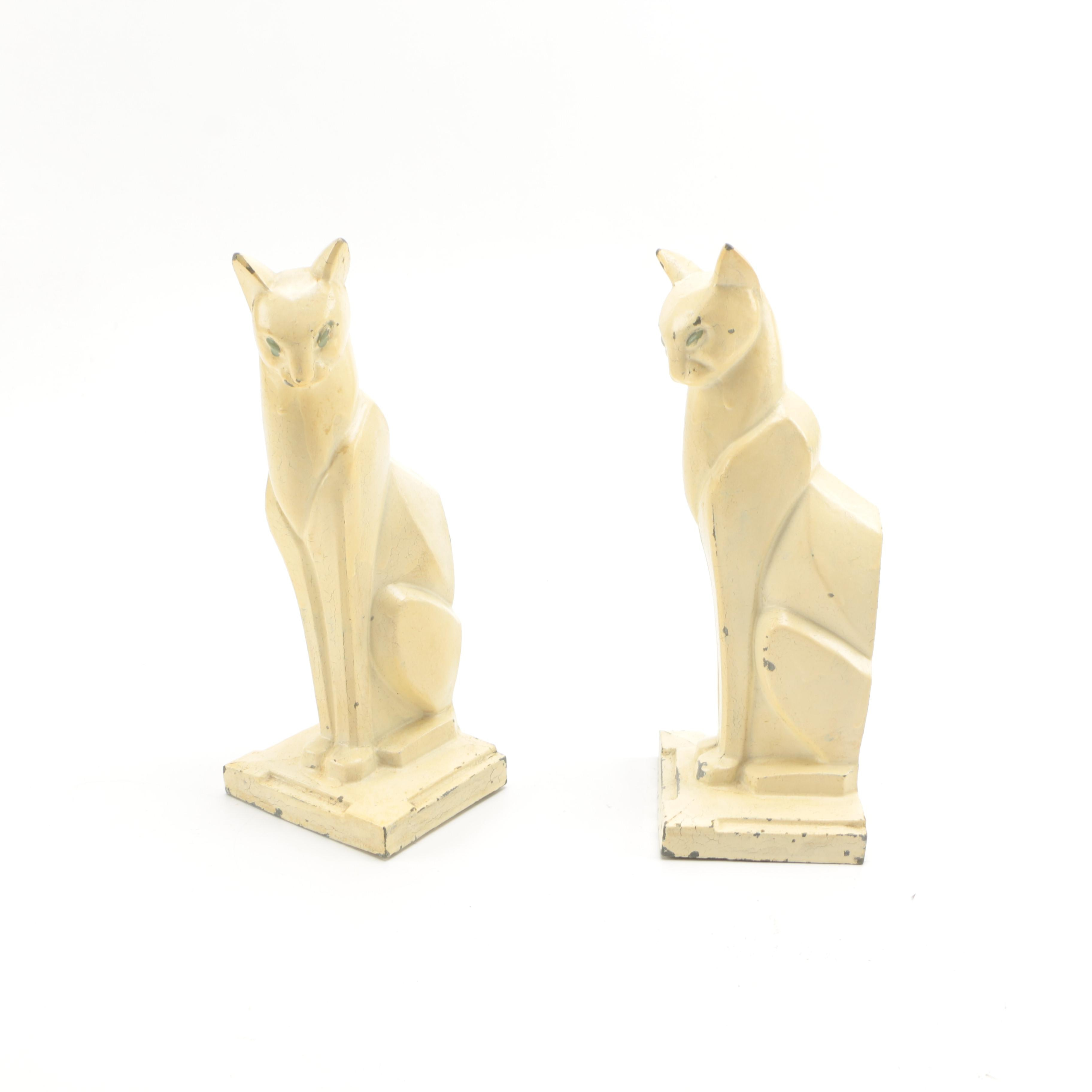 White Metal Cat Bookends