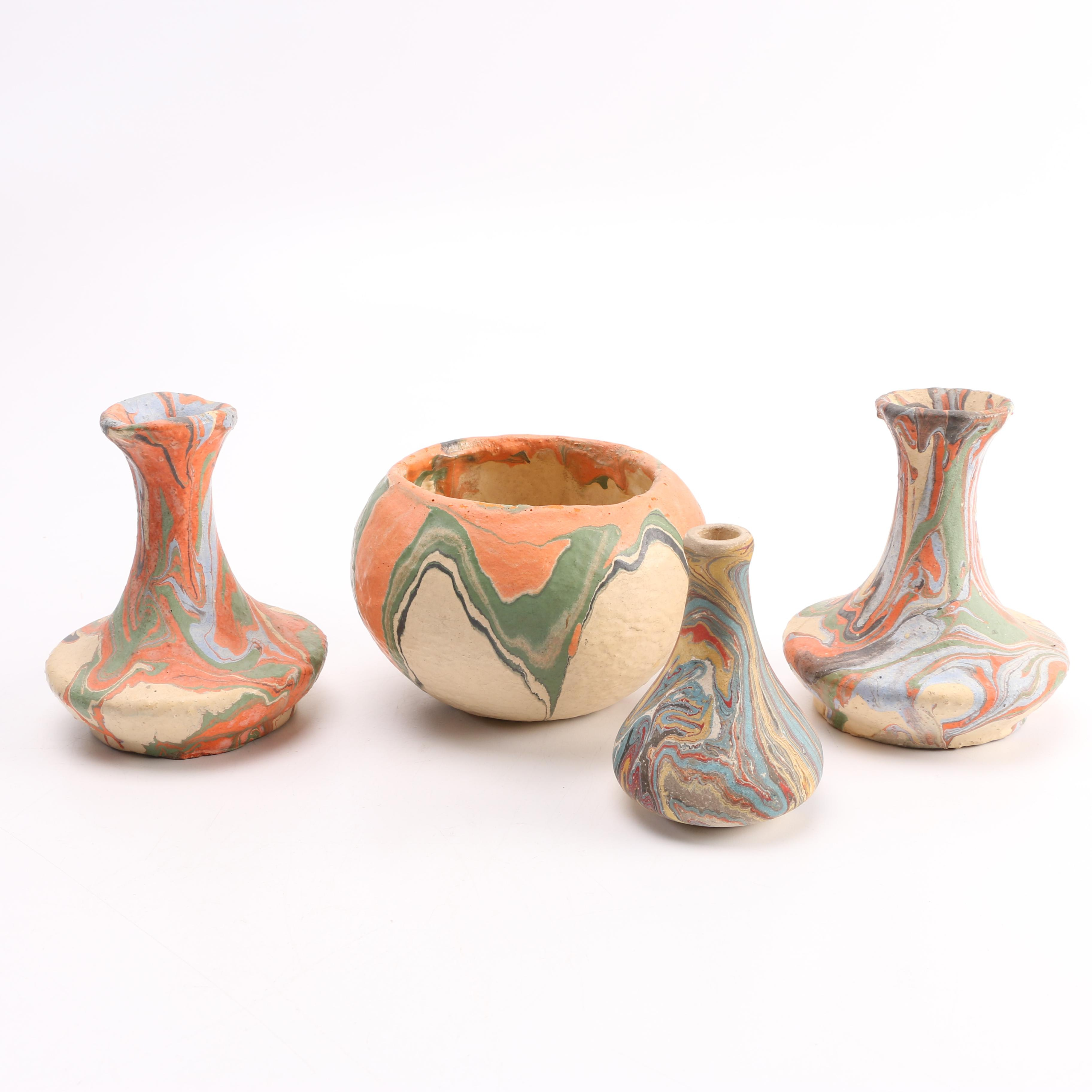 Group of Handmade Marbled Stoneware